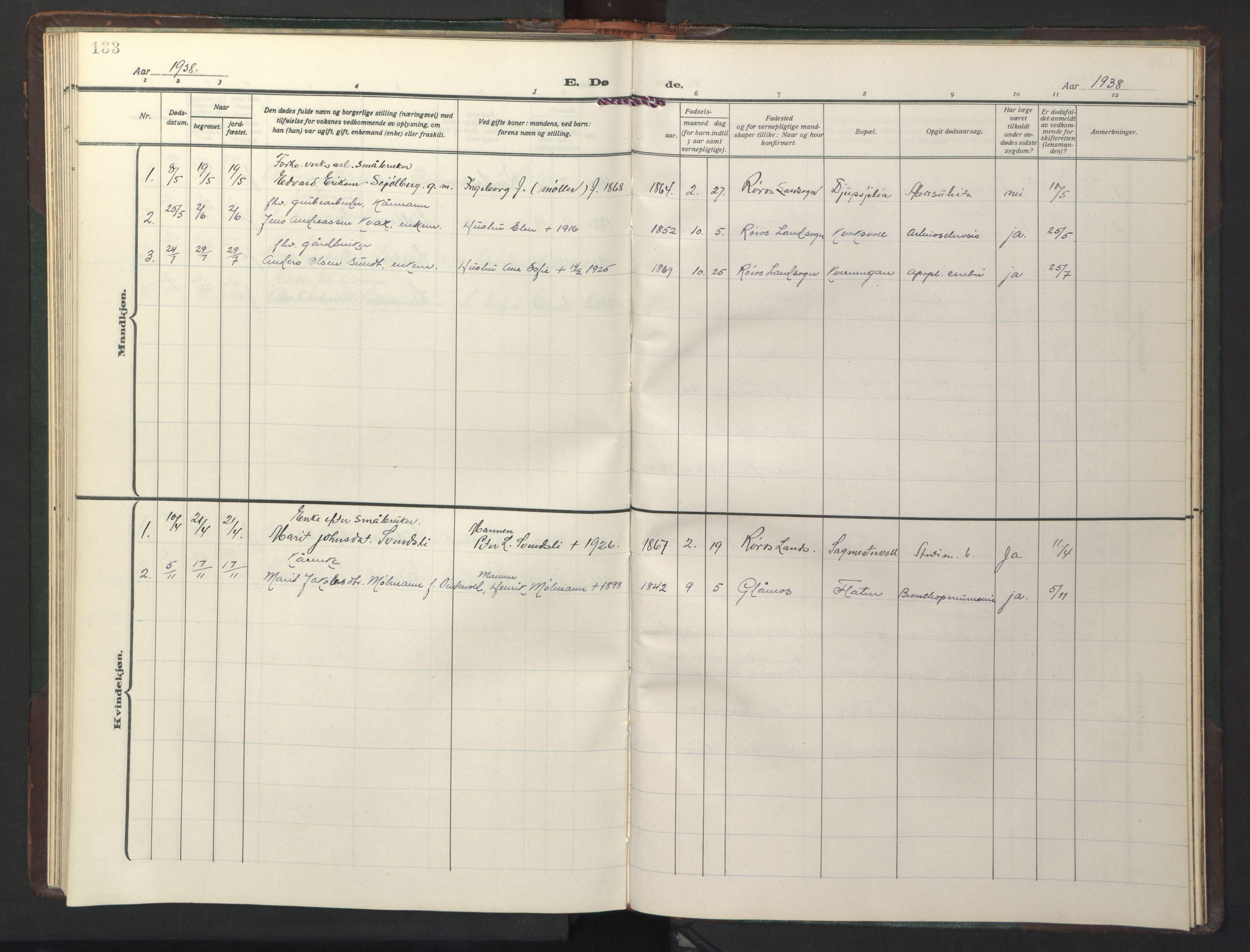 SAT, Ministerialprotokoller, klokkerbøker og fødselsregistre - Sør-Trøndelag, 681/L0944: Klokkerbok nr. 681C08, 1926-1954, s. 133