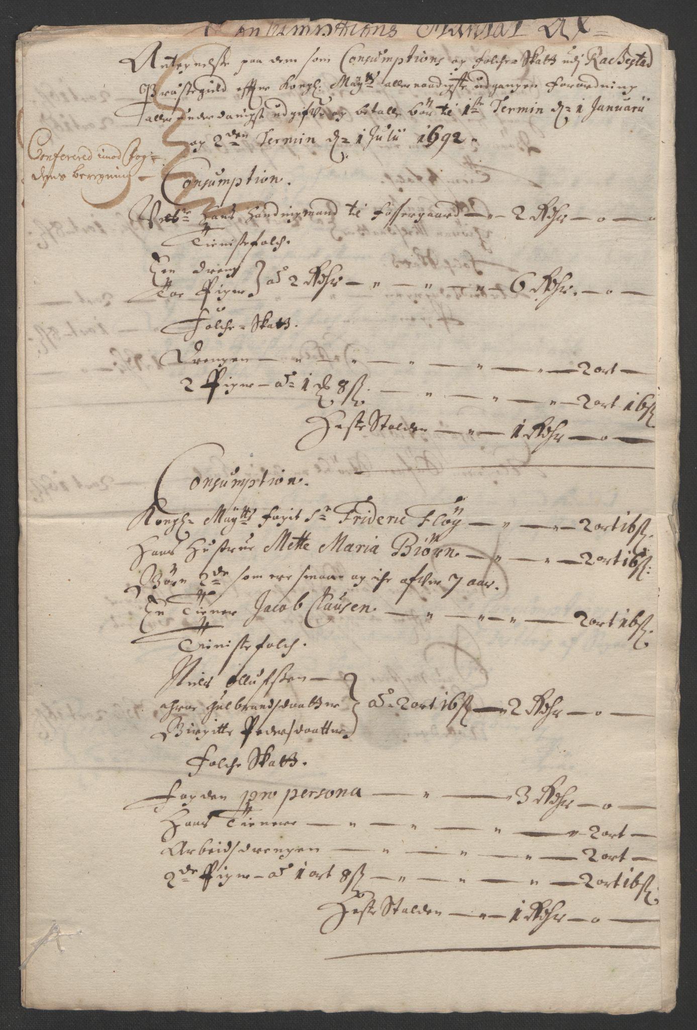 RA, Rentekammeret inntil 1814, Reviderte regnskaper, Fogderegnskap, R05/L0278: Fogderegnskap Rakkestad, 1691-1693, s. 288