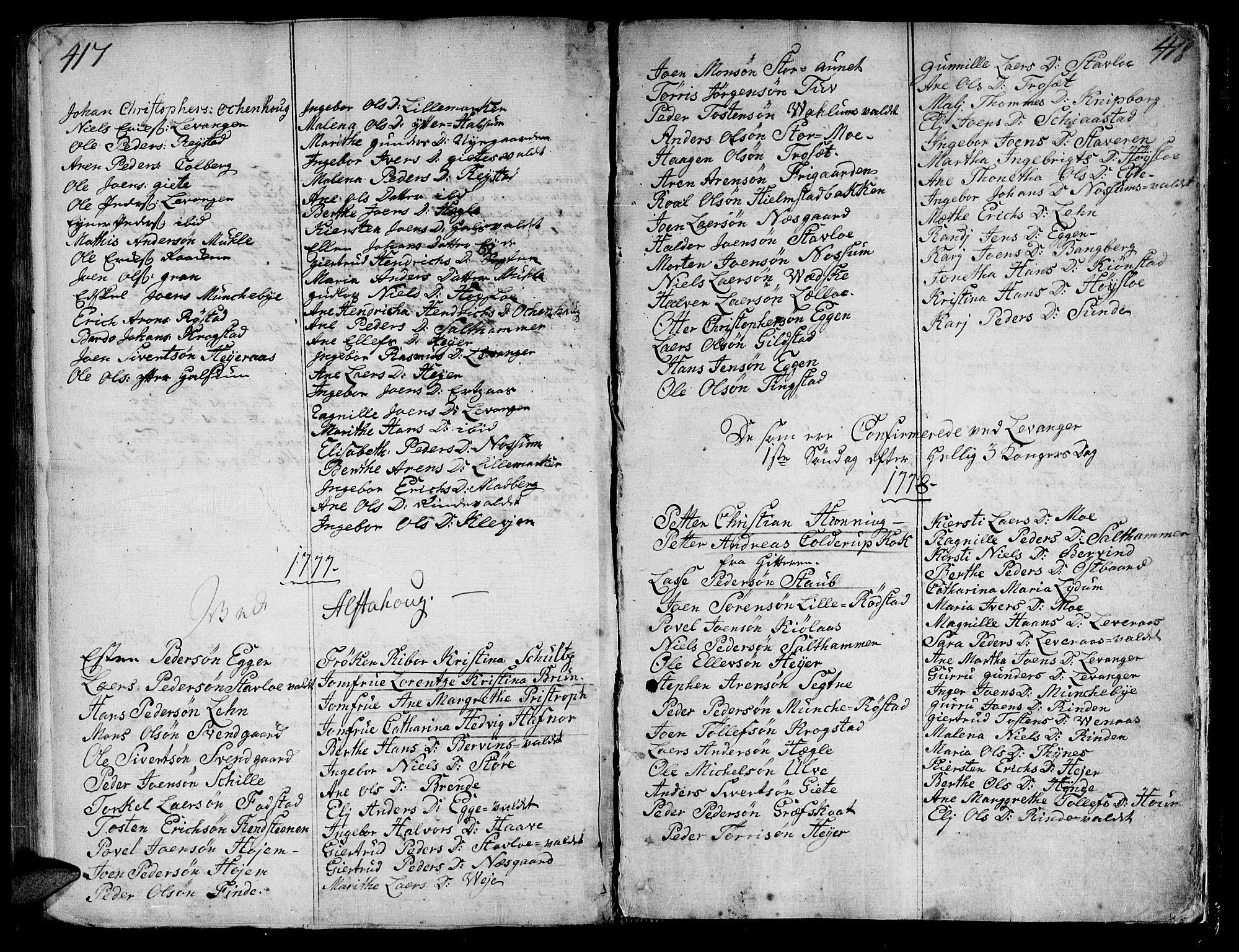 SAT, Ministerialprotokoller, klokkerbøker og fødselsregistre - Nord-Trøndelag, 717/L0141: Ministerialbok nr. 717A01, 1747-1803, s. 417-418