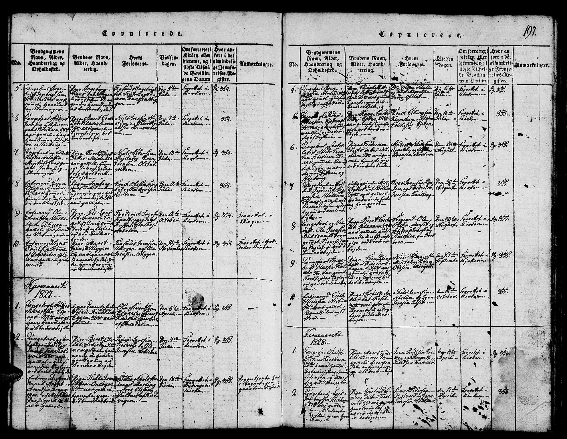SAT, Ministerialprotokoller, klokkerbøker og fødselsregistre - Sør-Trøndelag, 665/L0776: Klokkerbok nr. 665C01, 1817-1837, s. 197