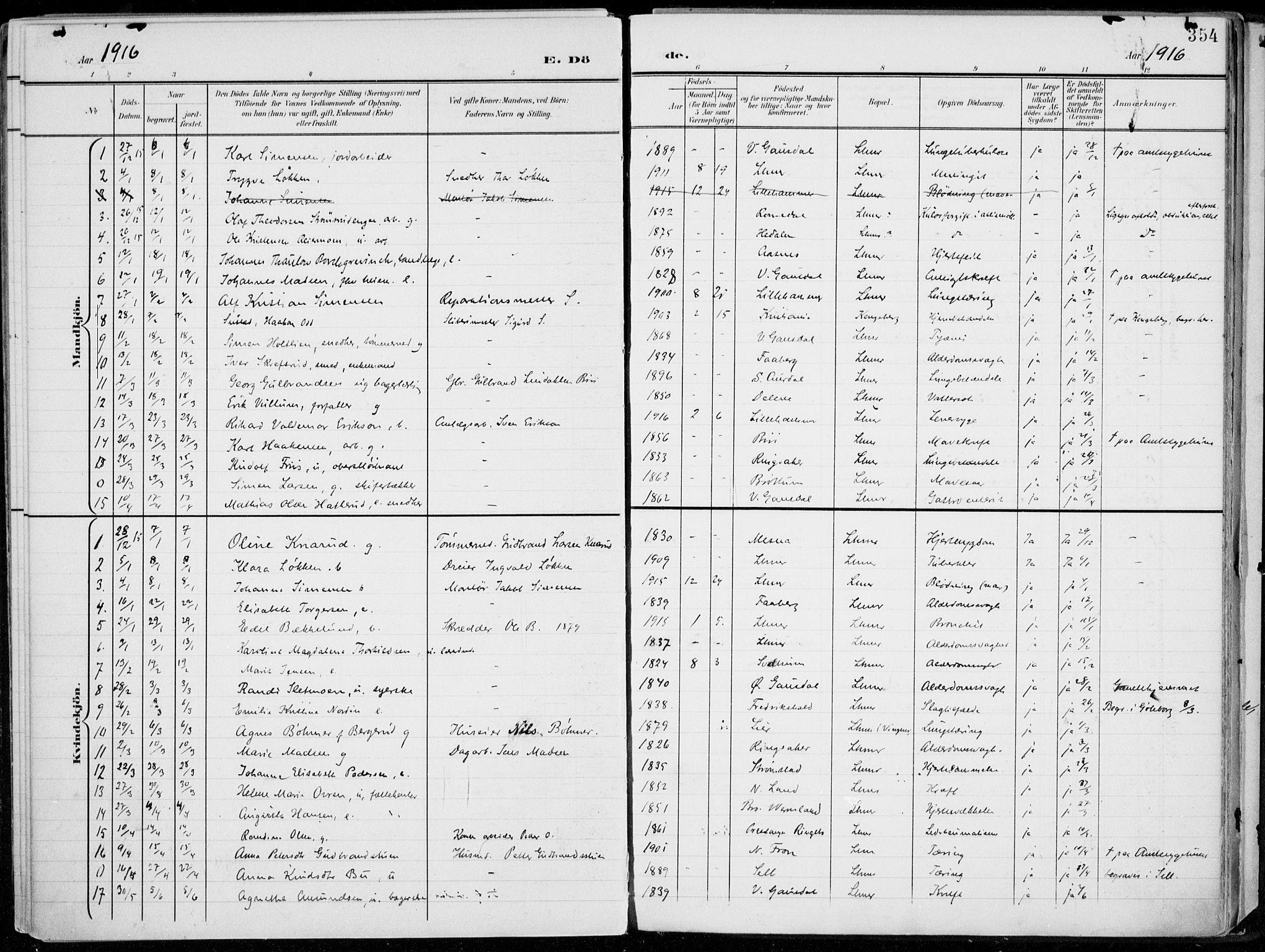 SAH, Lillehammer prestekontor, Ministerialbok nr. 1, 1901-1916, s. 354