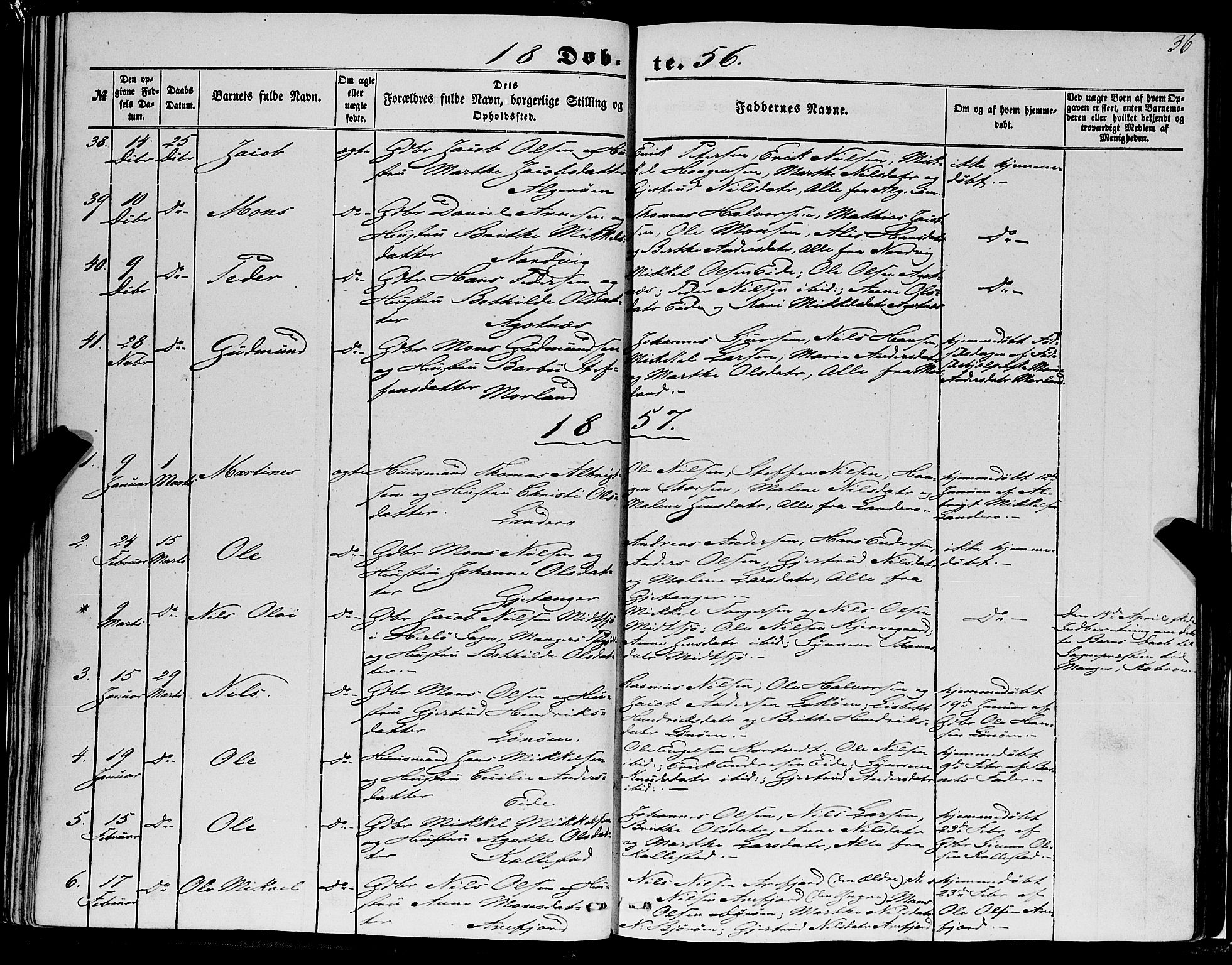 SAB, Fjell Sokneprestembete, H/Haa: Ministerialbok nr. A 2, 1847-1864, s. 36