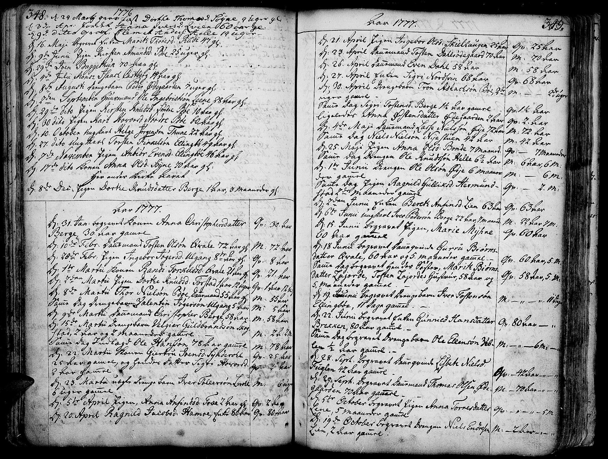 SAH, Vang prestekontor, Valdres, Ministerialbok nr. 1, 1730-1796, s. 348-349