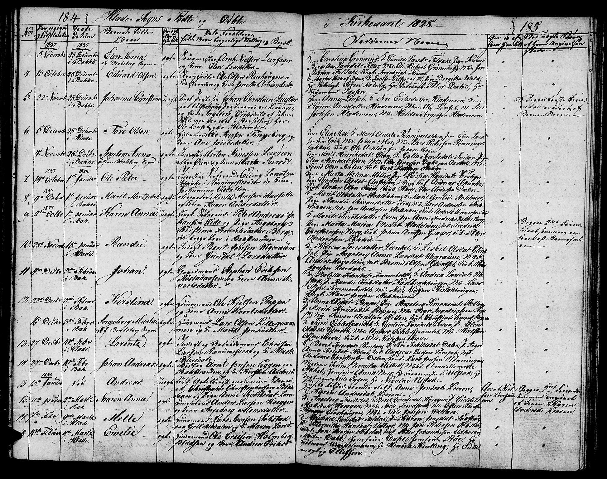 SAT, Ministerialprotokoller, klokkerbøker og fødselsregistre - Sør-Trøndelag, 606/L0306: Klokkerbok nr. 606C02, 1797-1829, s. 184-185