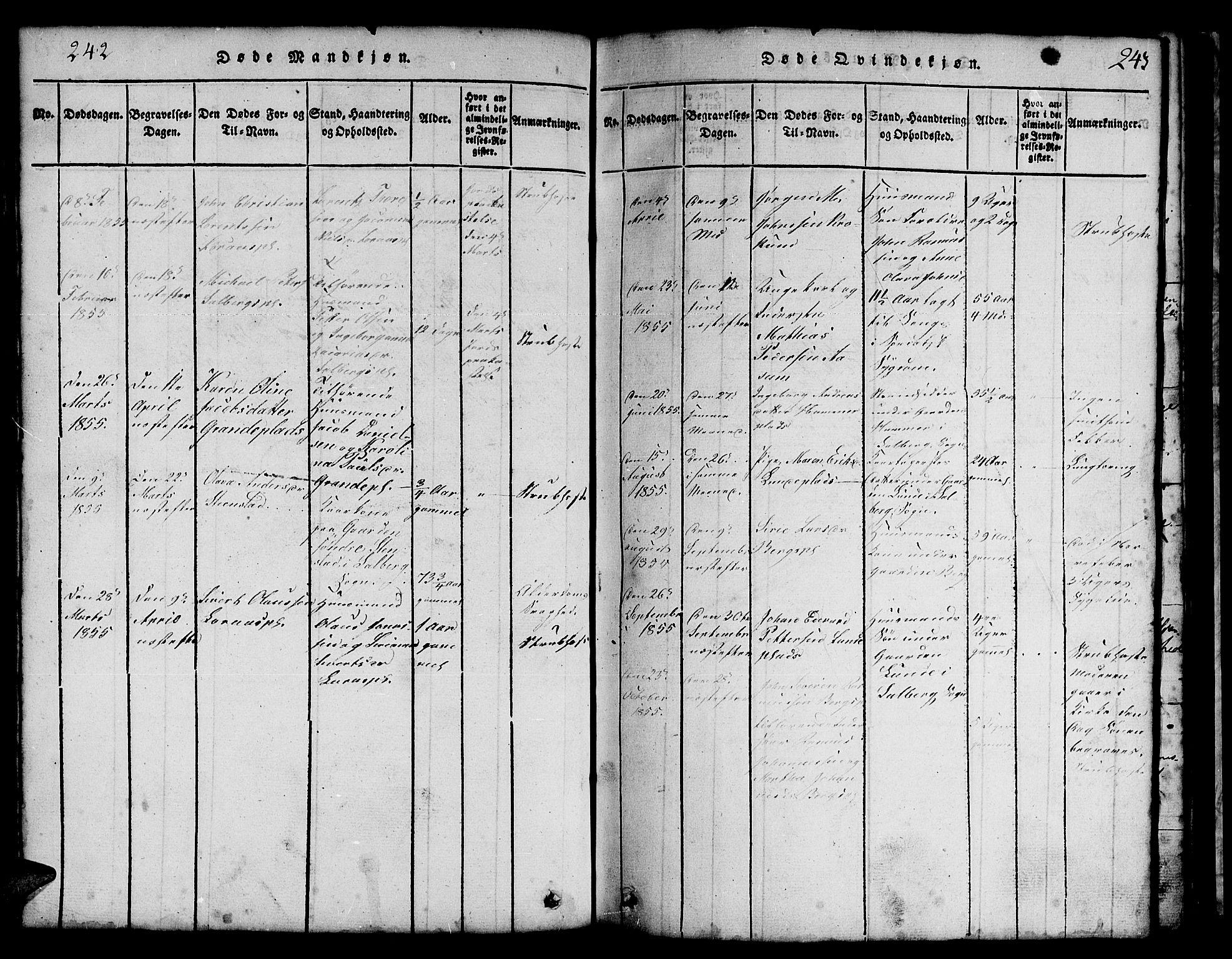 SAT, Ministerialprotokoller, klokkerbøker og fødselsregistre - Nord-Trøndelag, 731/L0310: Klokkerbok nr. 731C01, 1816-1874, s. 242-243