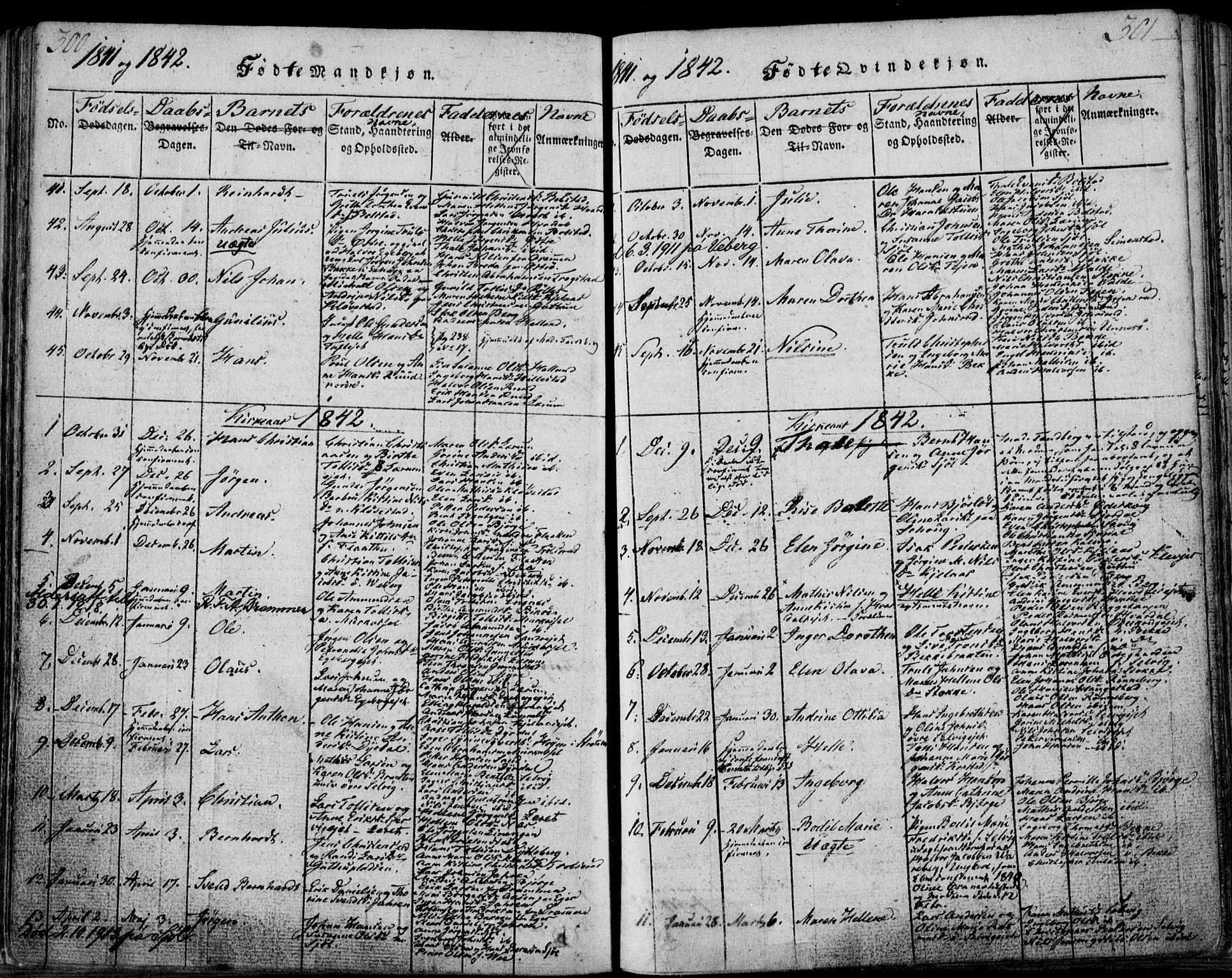SAKO, Sande Kirkebøker, F/Fa/L0003: Ministerialbok nr. 3, 1814-1847, s. 300-301