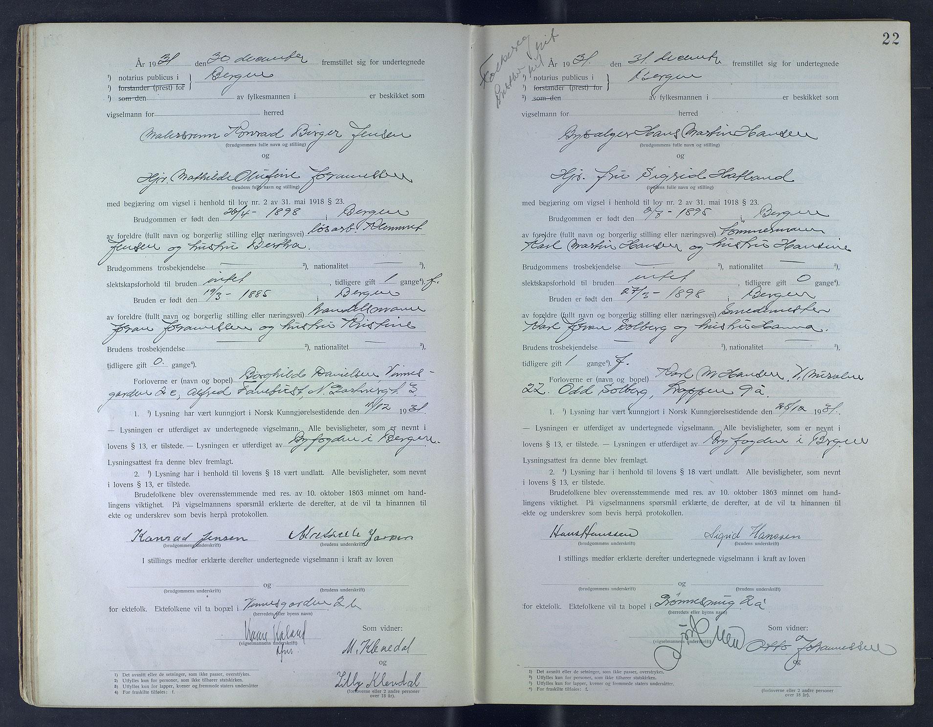 SAB, Byfogd og Byskriver i Bergen, 10/10F/L0006: Vielsesprotokoller, 1931-1933, s. 21b-22a