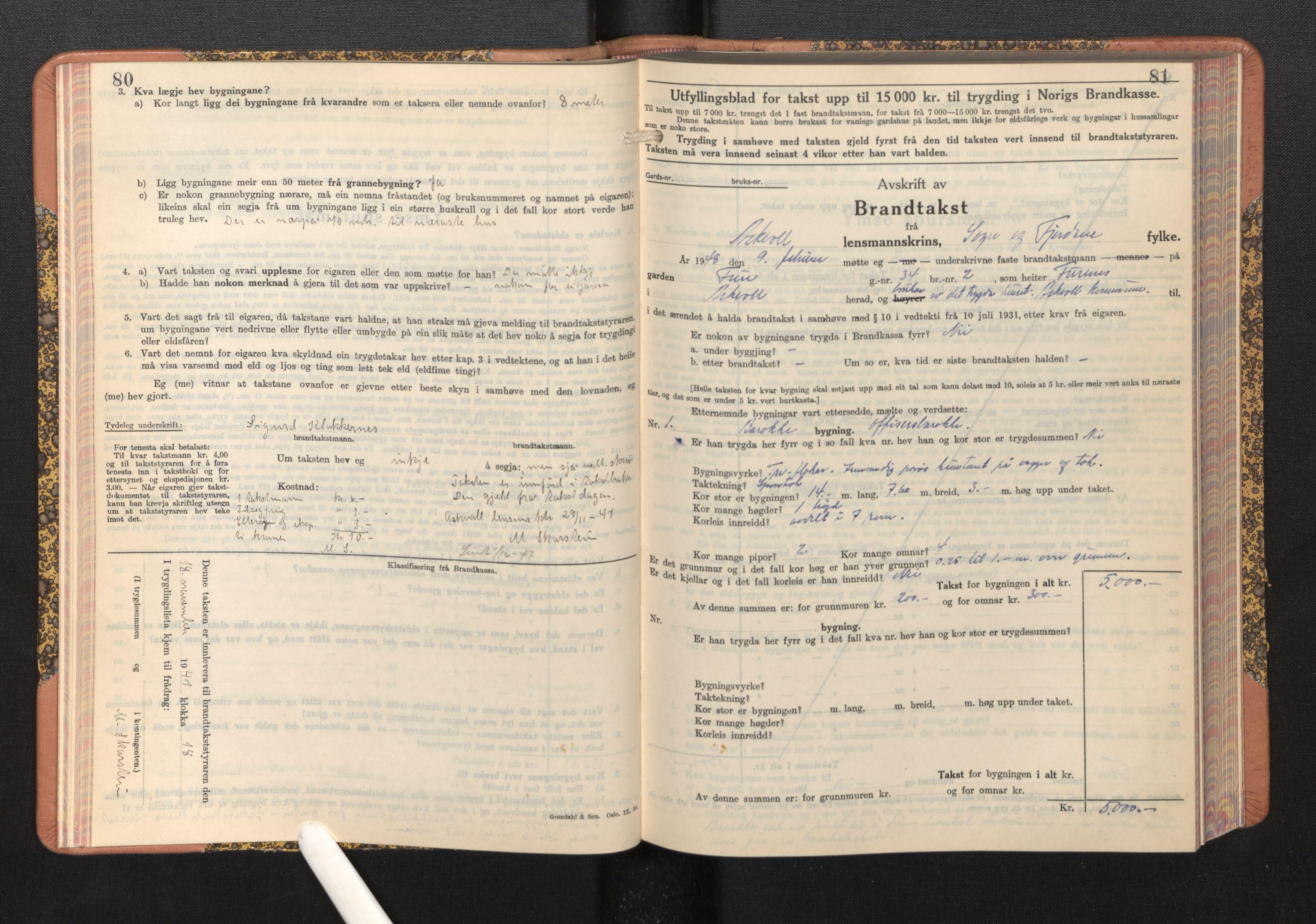 SAB, Lensmannen i Askvoll, 0012/L0005: Branntakstprotokoll, skjematakst, 1940-1949, s. 80-81
