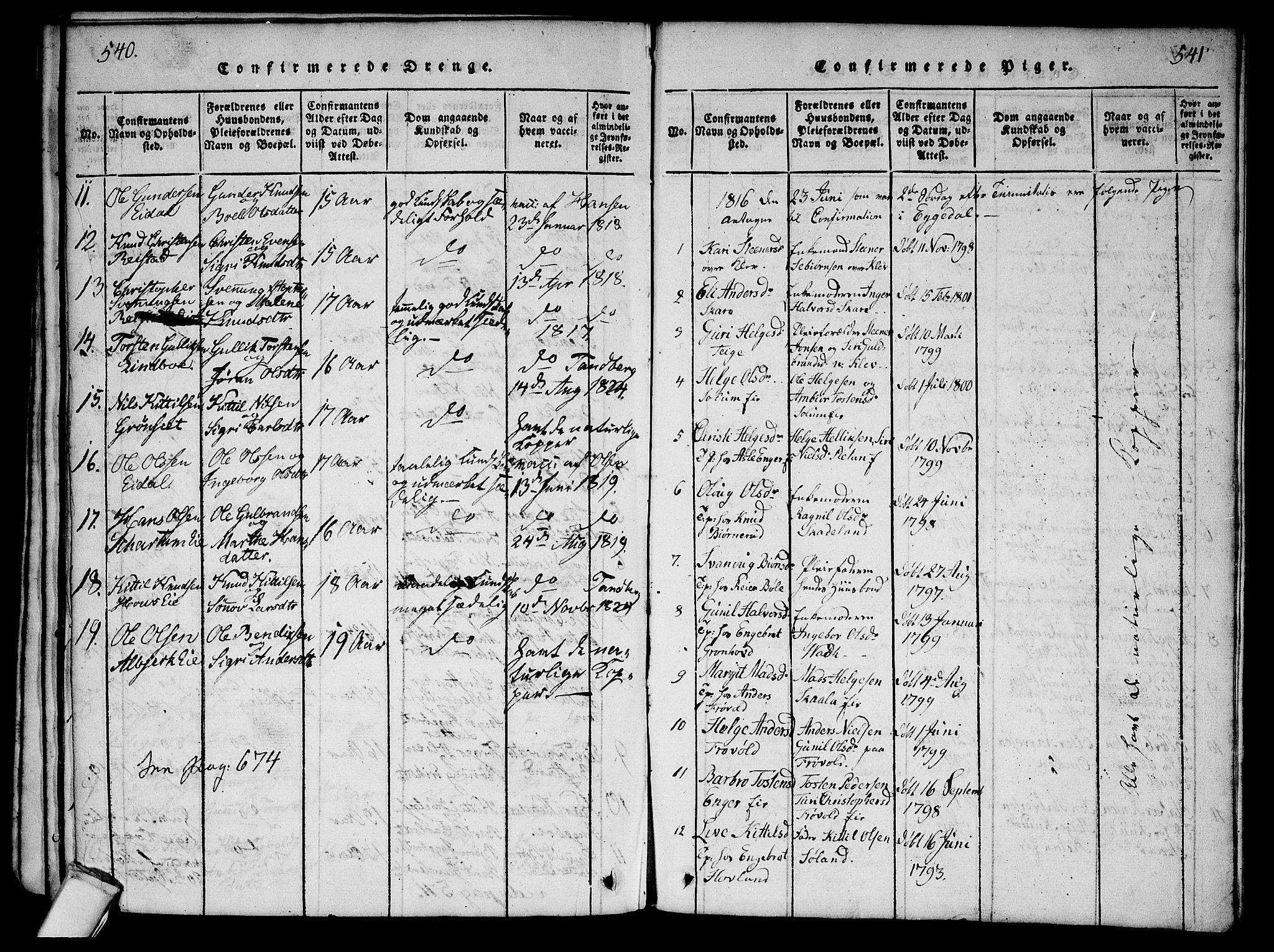 SAKO, Sigdal kirkebøker, G/Ga/L0001: Klokkerbok nr. I 1 /2, 1816-1835, s. 540-541