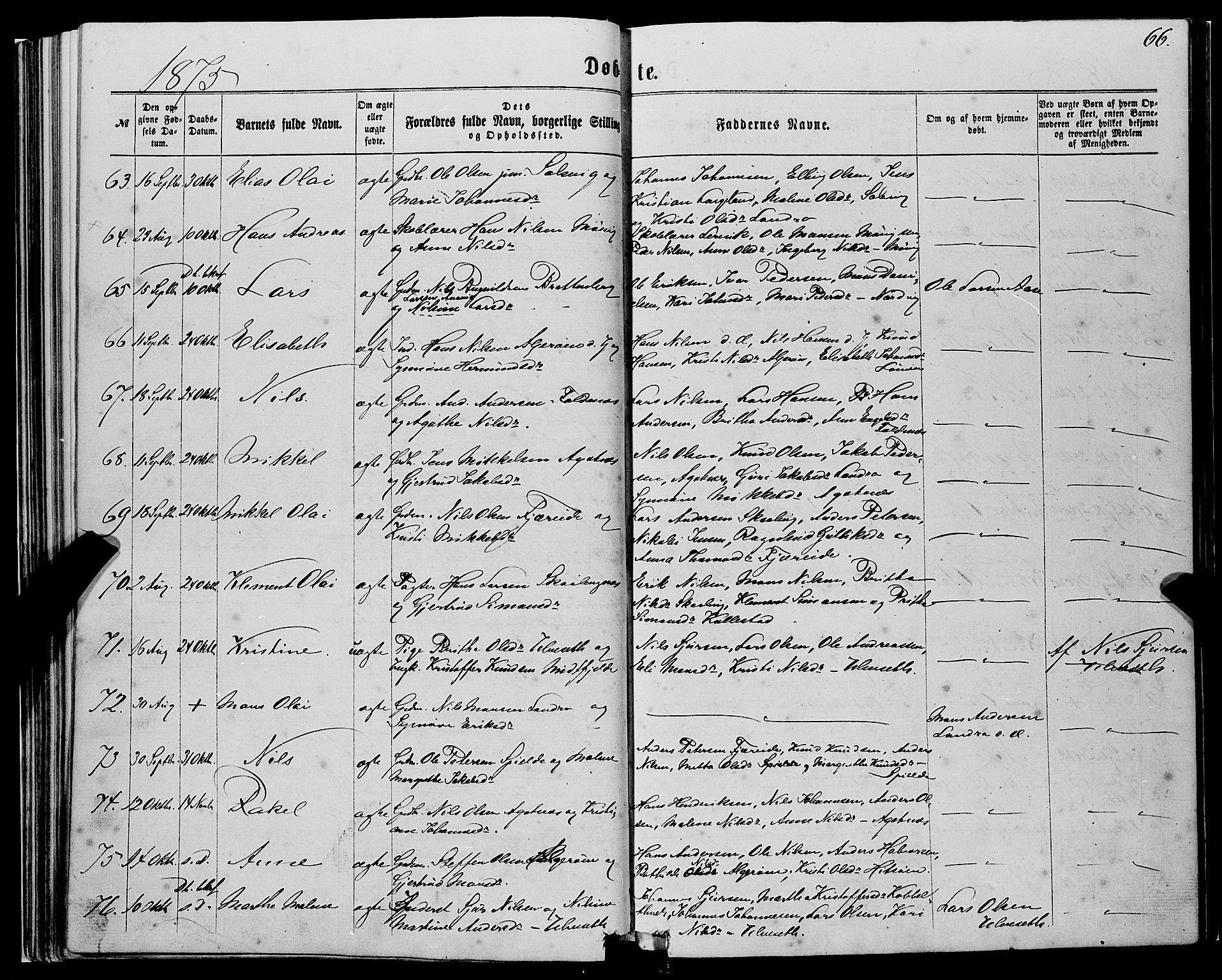 SAB, Fjell Sokneprestembete, H/Haa: Ministerialbok nr. A 3, 1864-1877, s. 66