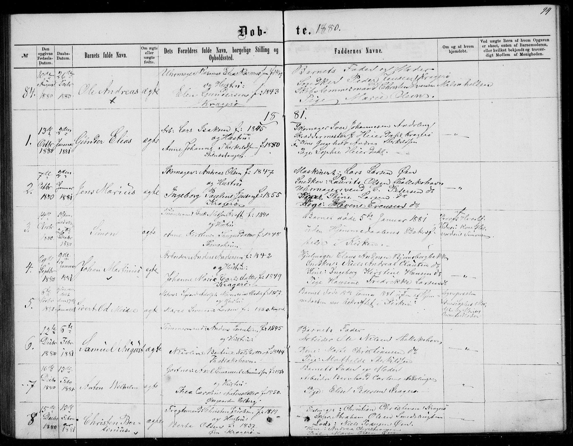 SAKO, Kragerø kirkebøker, G/Ga/L0006: Klokkerbok nr. 6, 1876-1881, s. 94