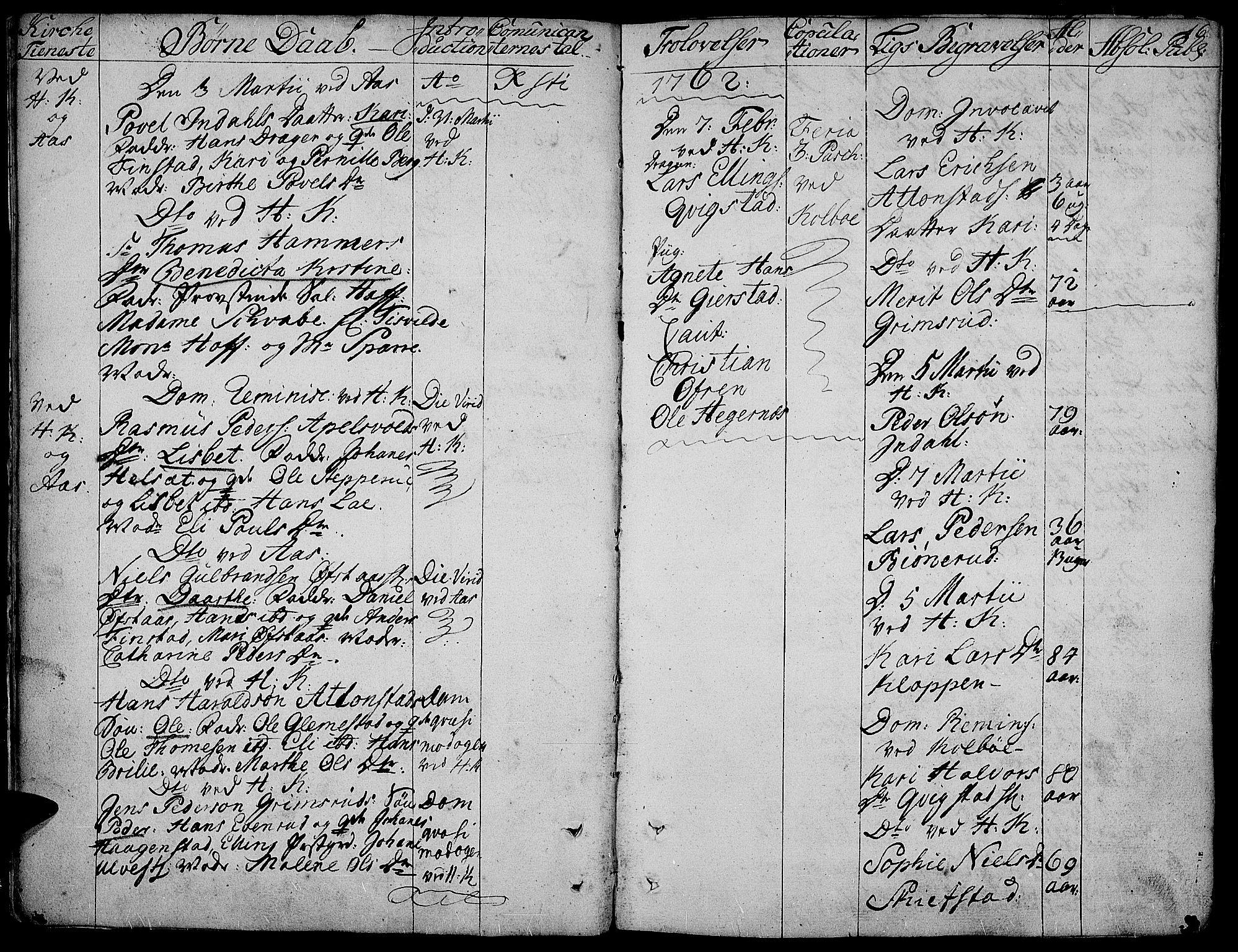 SAH, Toten prestekontor, Ministerialbok nr. 5, 1761-1772, s. 16