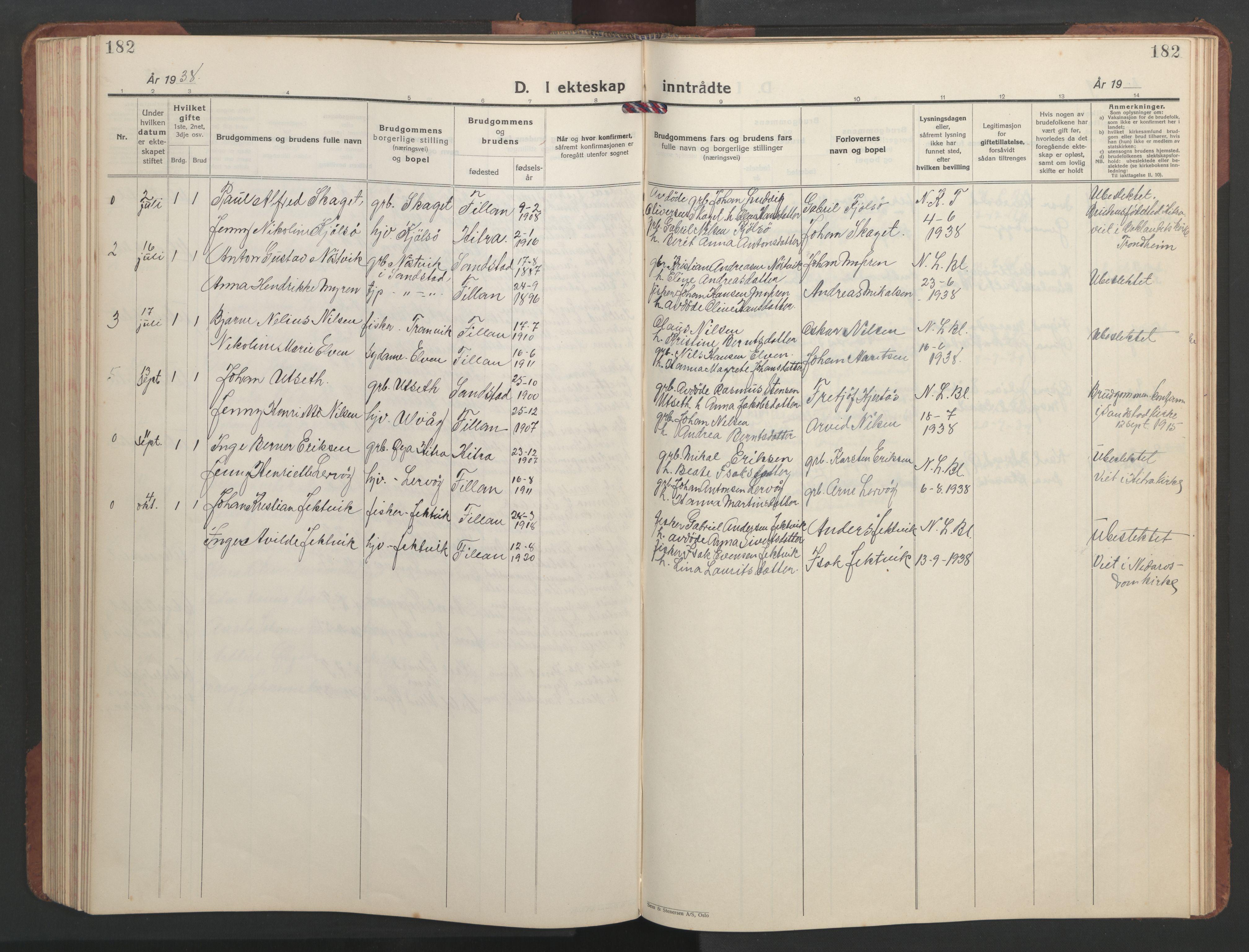 SAT, Ministerialprotokoller, klokkerbøker og fødselsregistre - Sør-Trøndelag, 637/L0564: Klokkerbok nr. 637C05, 1928-1968, s. 182
