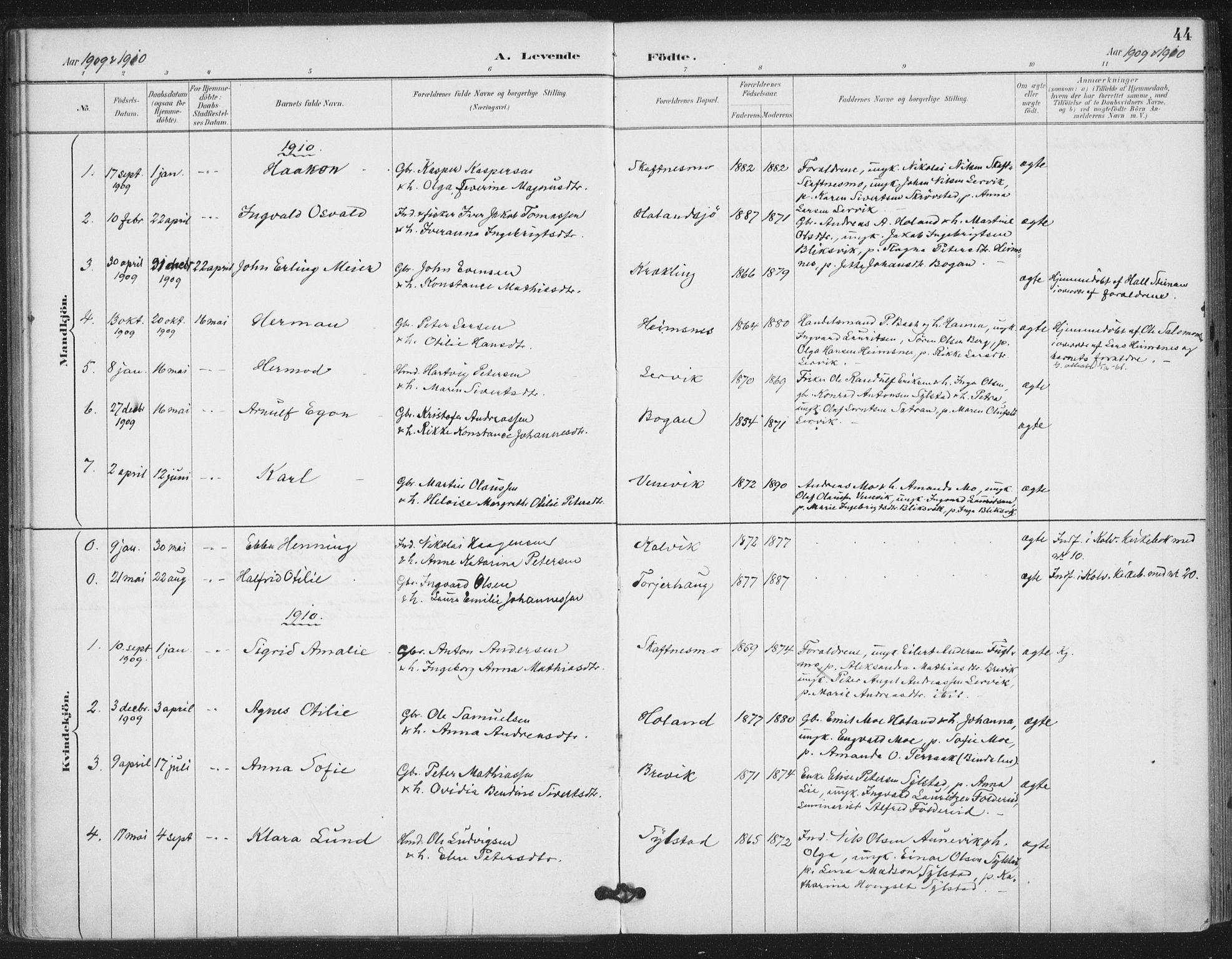SAT, Ministerialprotokoller, klokkerbøker og fødselsregistre - Nord-Trøndelag, 783/L0660: Ministerialbok nr. 783A02, 1886-1918, s. 44