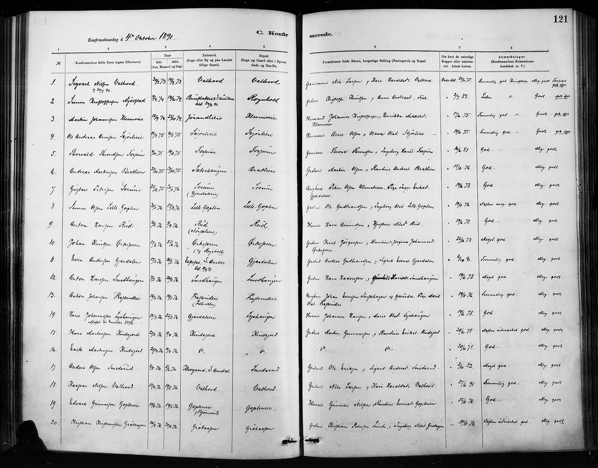 SAH, Nordre Land prestekontor, Ministerialbok nr. 4, 1882-1896, s. 121