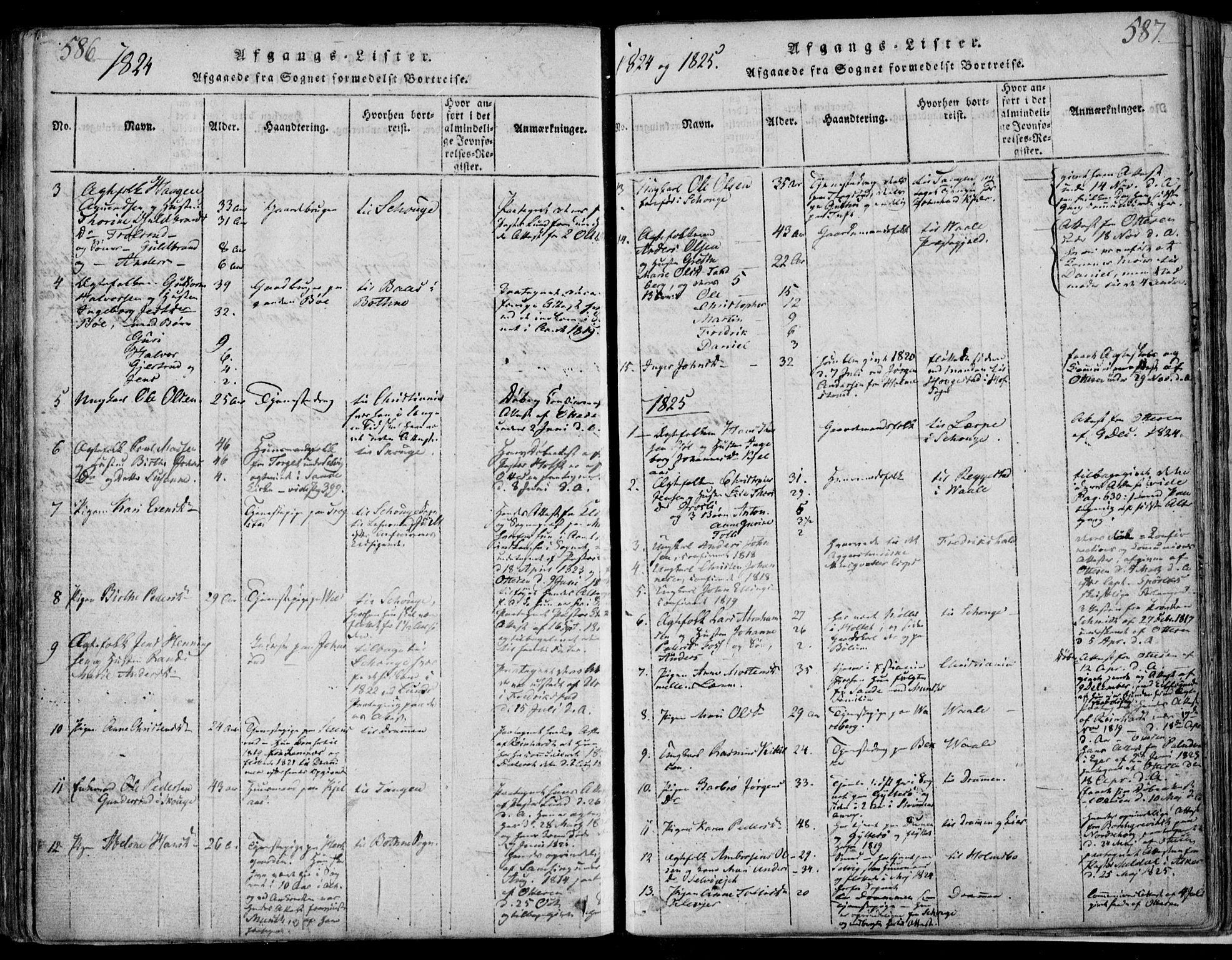 SAKO, Sande Kirkebøker, F/Fa/L0003: Ministerialbok nr. 3, 1814-1847, s. 586-587