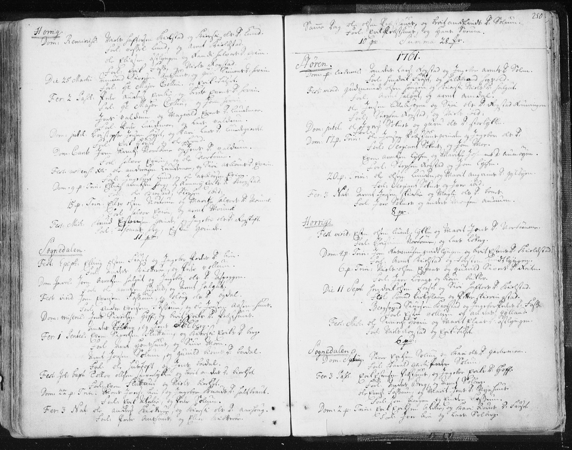 SAT, Ministerialprotokoller, klokkerbøker og fødselsregistre - Sør-Trøndelag, 687/L0991: Ministerialbok nr. 687A02, 1747-1790, s. 250