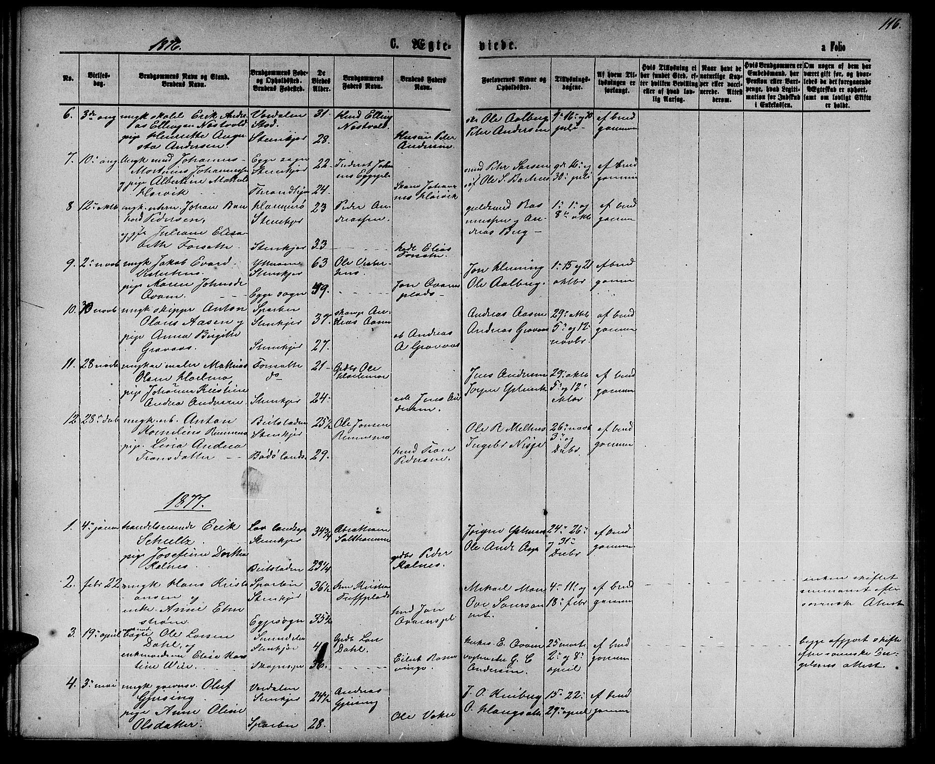 SAT, Ministerialprotokoller, klokkerbøker og fødselsregistre - Nord-Trøndelag, 739/L0373: Klokkerbok nr. 739C01, 1865-1882, s. 116
