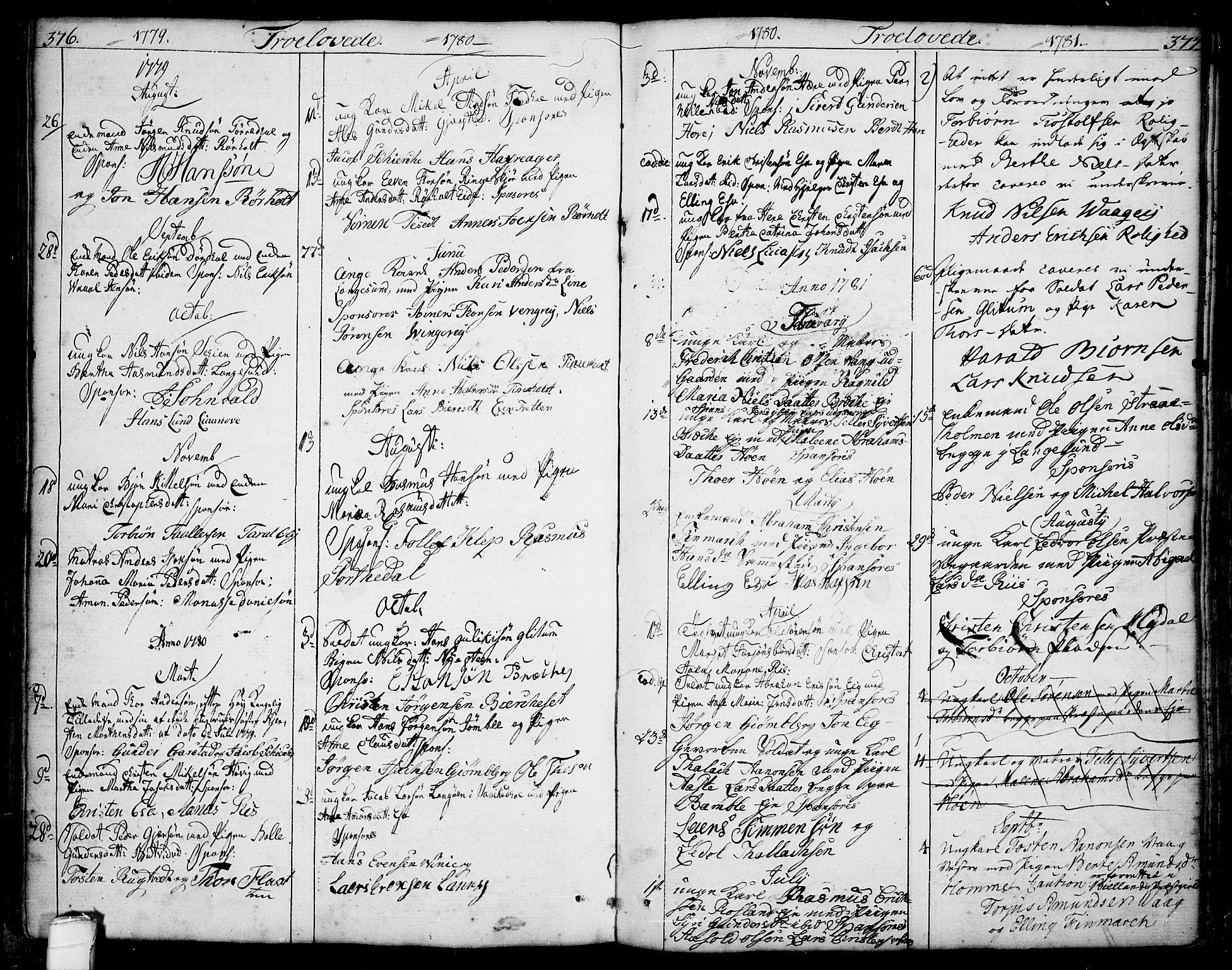 SAKO, Bamble kirkebøker, F/Fa/L0002: Ministerialbok nr. I 2, 1775-1814, s. 376-377