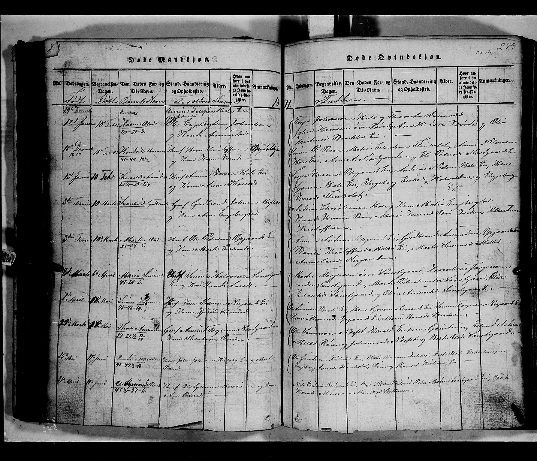 SAH, Gausdal prestekontor, Klokkerbok nr. 2, 1818-1874, s. 272-273