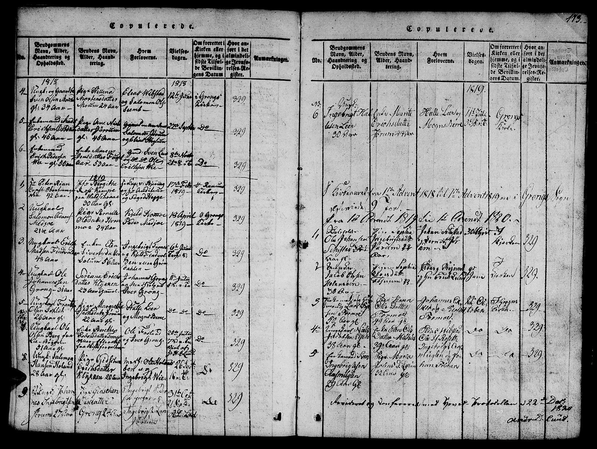 SAT, Ministerialprotokoller, klokkerbøker og fødselsregistre - Nord-Trøndelag, 758/L0521: Klokkerbok nr. 758C01, 1816-1825, s. 113
