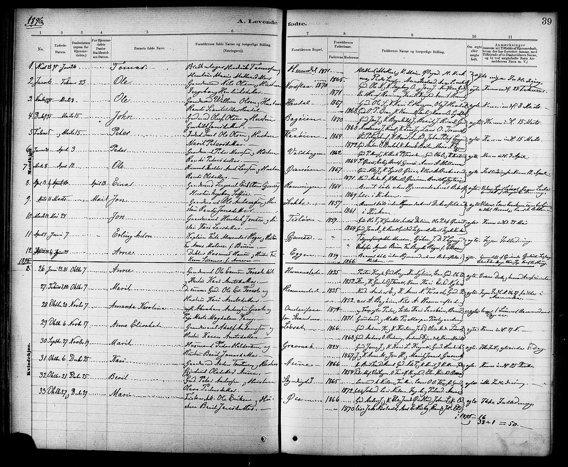 SAT, Ministerialprotokoller, klokkerbøker og fødselsregistre - Sør-Trøndelag, 691/L1094: Klokkerbok nr. 691C05, 1879-1911, s. 39