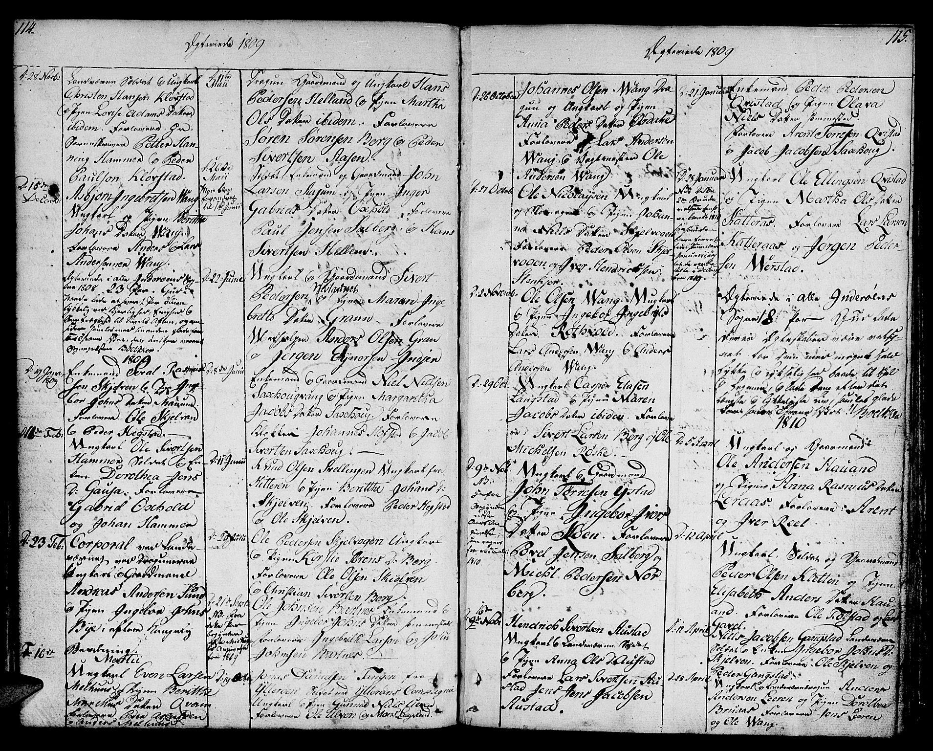 SAT, Ministerialprotokoller, klokkerbøker og fødselsregistre - Nord-Trøndelag, 730/L0274: Ministerialbok nr. 730A03, 1802-1816, s. 114-115