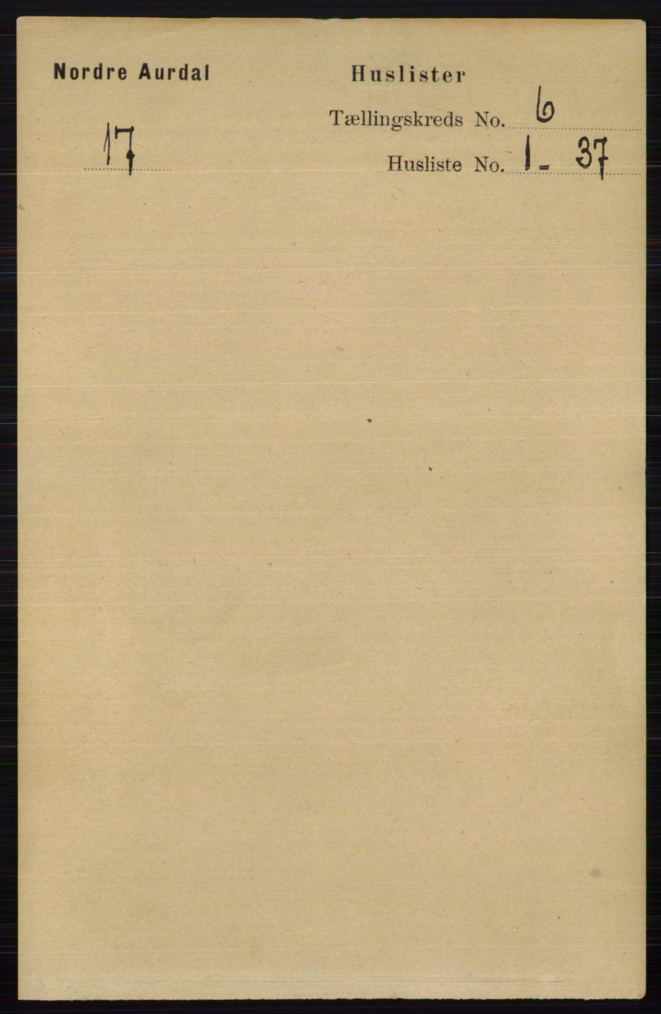 RA, Folketelling 1891 for 0542 Nord-Aurdal herred, 1891, s. 2045