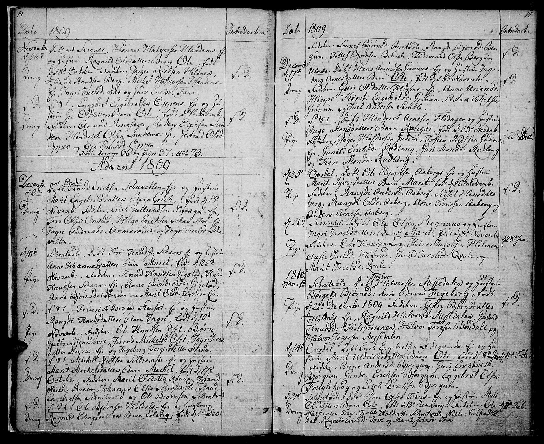 SAH, Nord-Aurdal prestekontor, Ministerialbok nr. 1, 1808-1815, s. 14-15