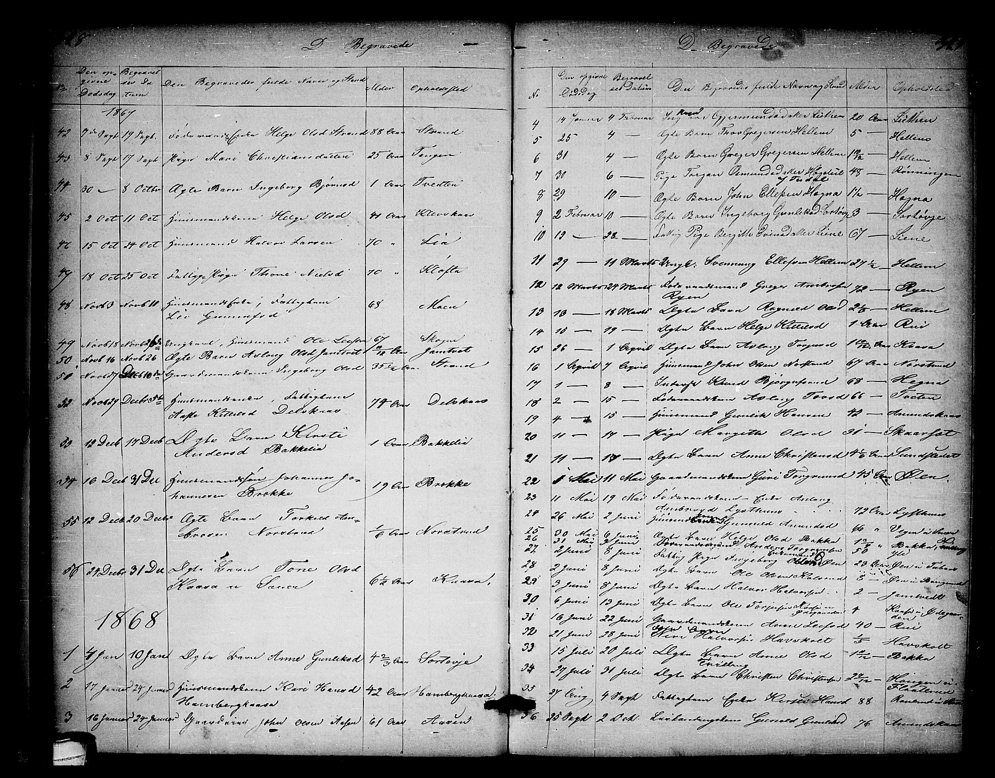 SAKO, Heddal kirkebøker, G/Ga/L0001: Klokkerbok nr. I 1, 1866-1878, s. 328-329