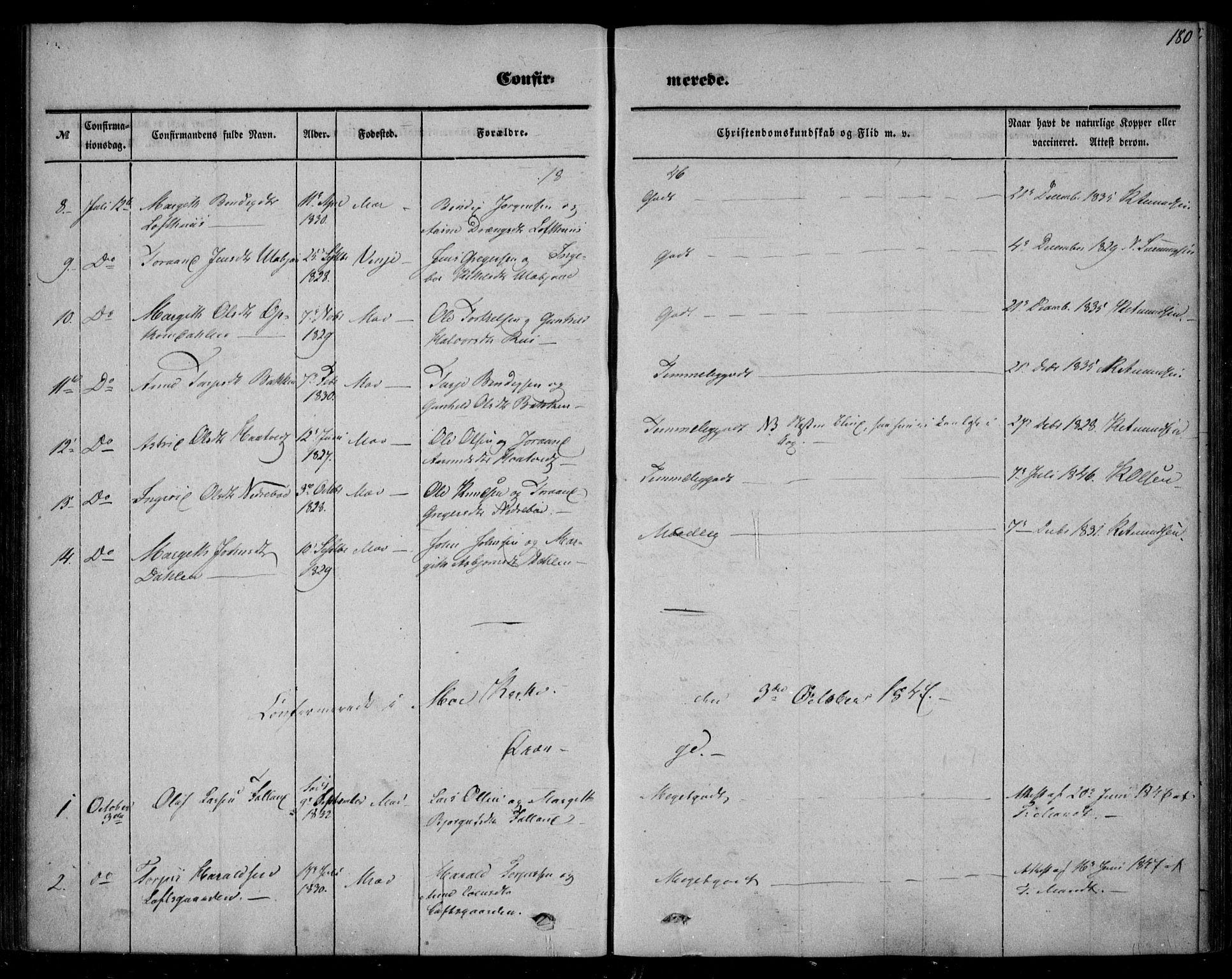 SAKO, Mo kirkebøker, F/Fa/L0005: Ministerialbok nr. I 5, 1844-1864, s. 180