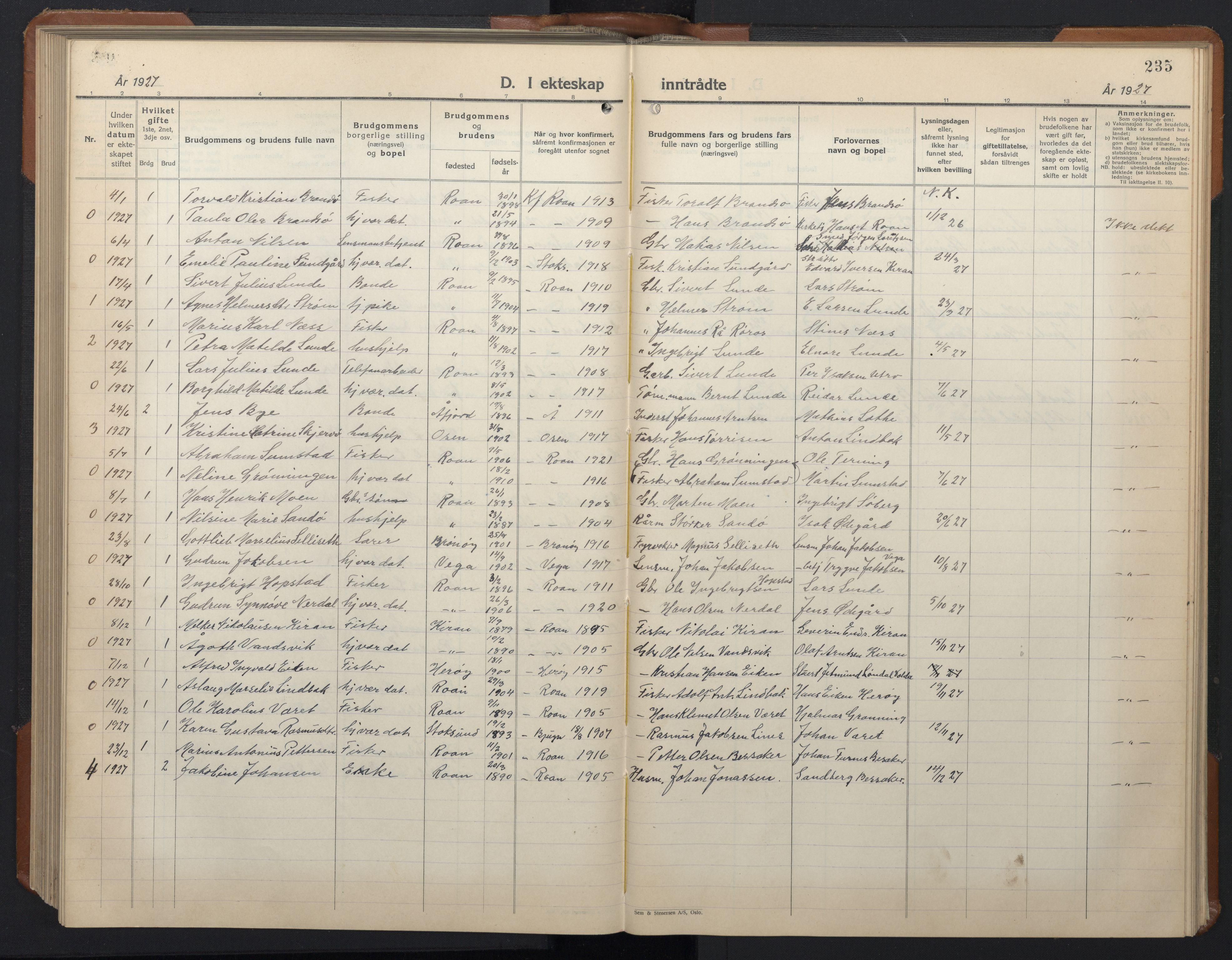 SAT, Ministerialprotokoller, klokkerbøker og fødselsregistre - Sør-Trøndelag, 657/L0718: Klokkerbok nr. 657C05, 1923-1948, s. 235