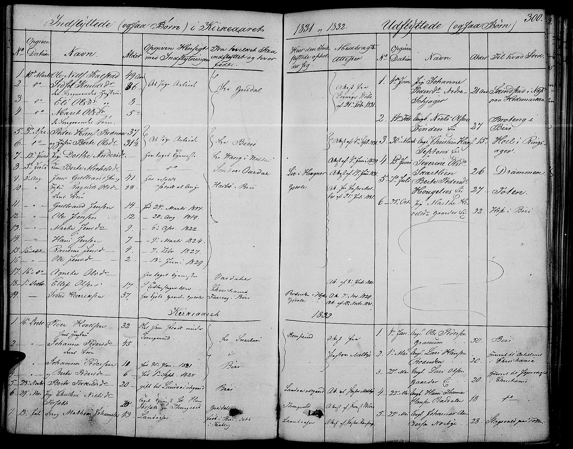 SAH, Land prestekontor, Ministerialbok nr. 8, 1830-1846, s. 300