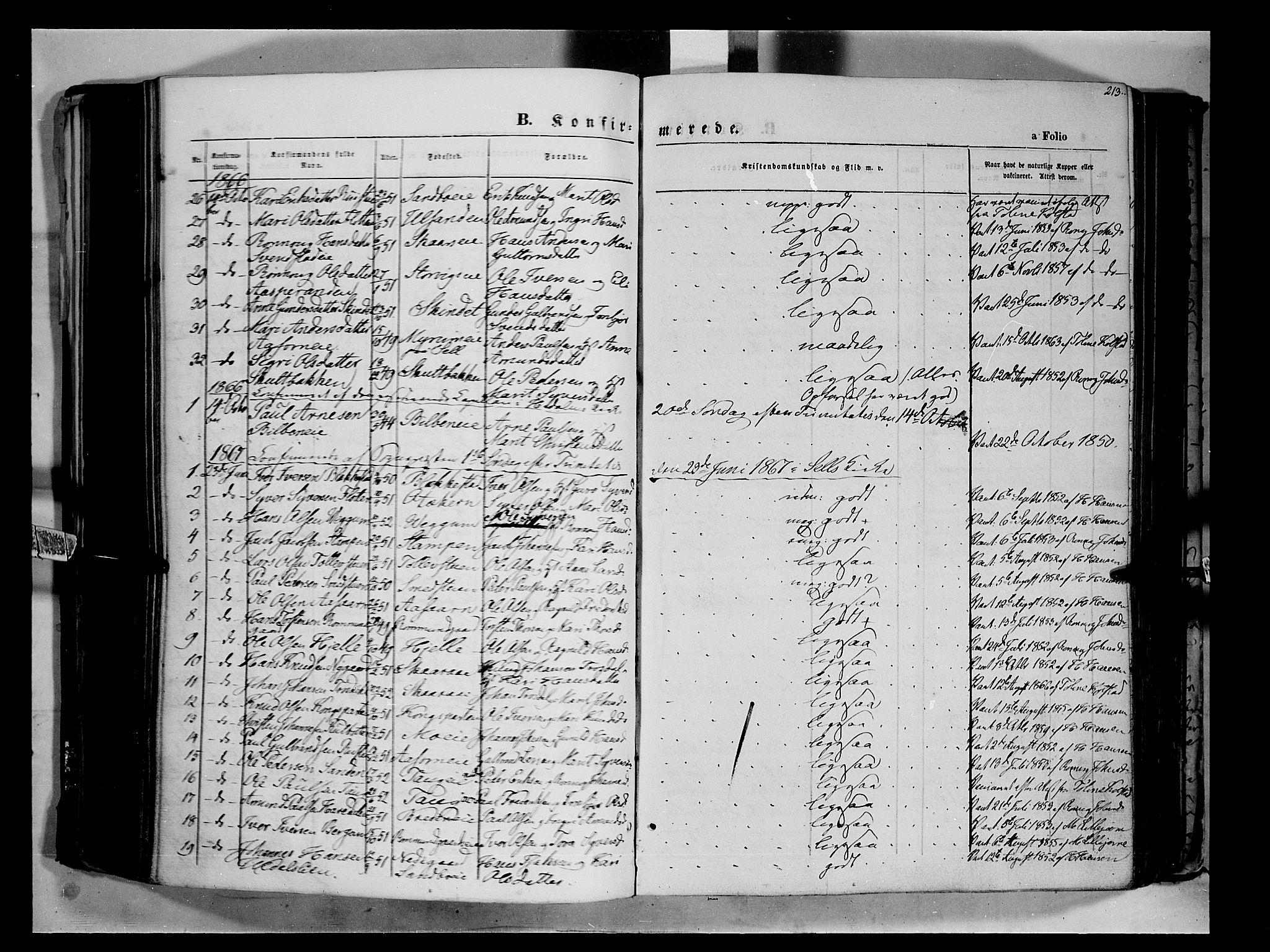SAH, Vågå prestekontor, Ministerialbok nr. 6 /1, 1856-1872, s. 213