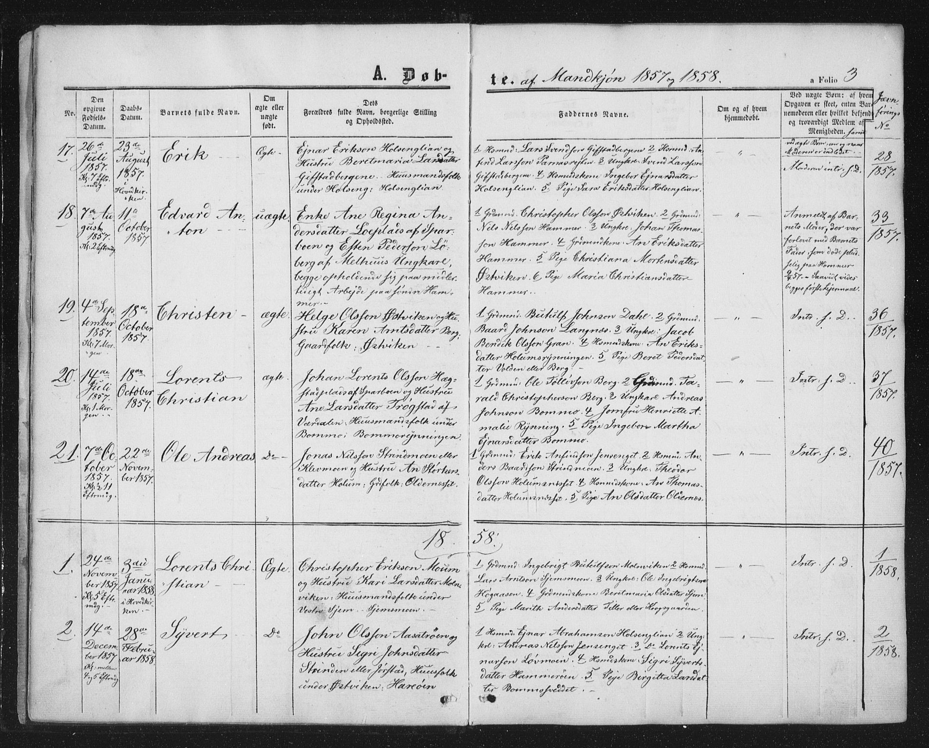 SAT, Ministerialprotokoller, klokkerbøker og fødselsregistre - Nord-Trøndelag, 749/L0472: Ministerialbok nr. 749A06, 1857-1873, s. 3
