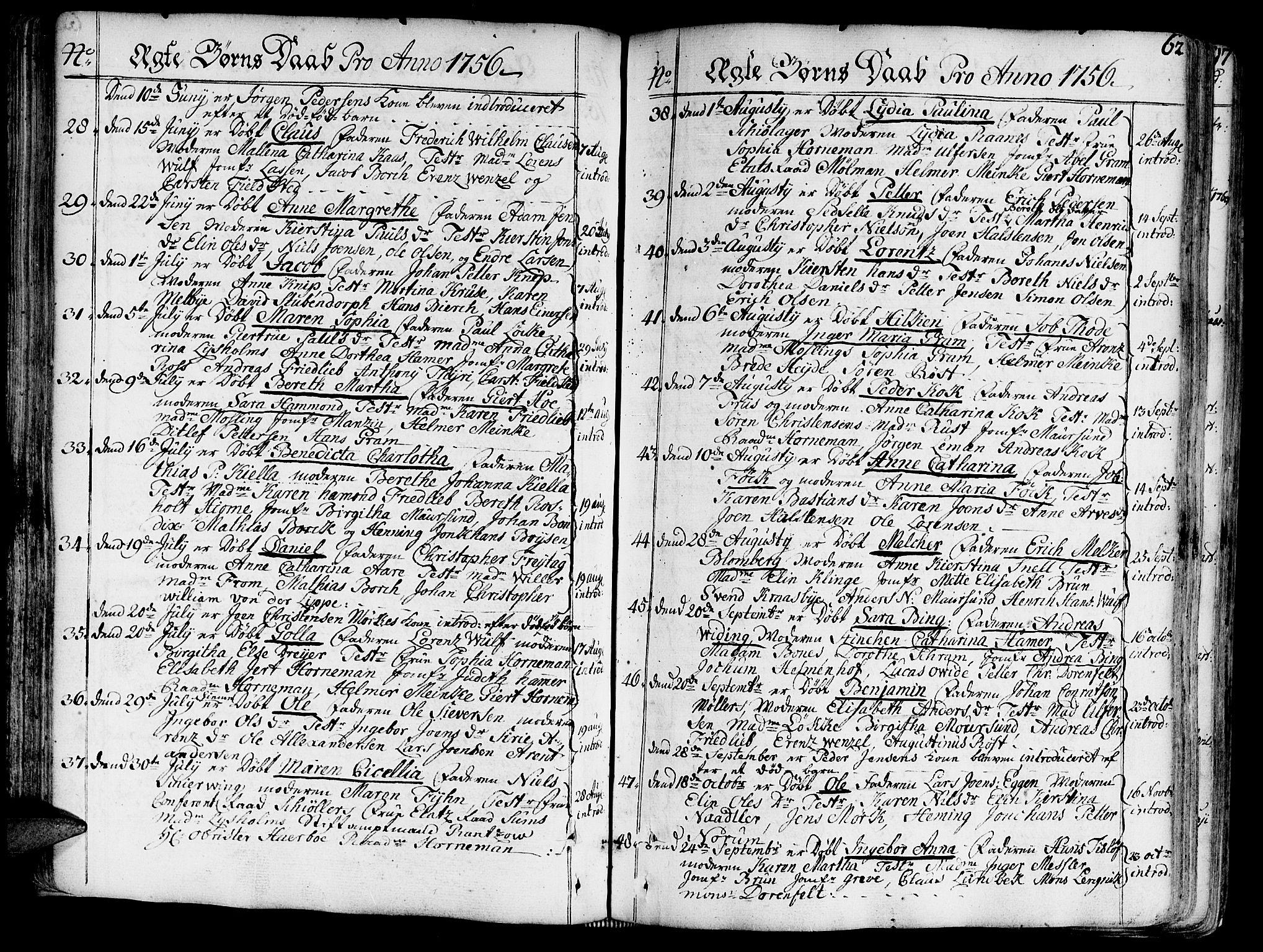 SAT, Ministerialprotokoller, klokkerbøker og fødselsregistre - Sør-Trøndelag, 602/L0103: Ministerialbok nr. 602A01, 1732-1774, s. 62