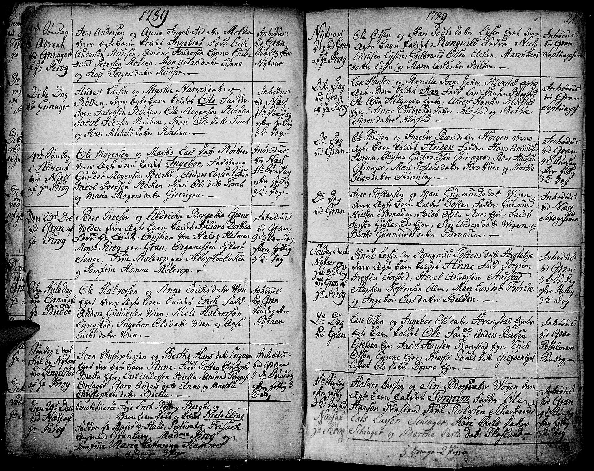 SAH, Gran prestekontor, Ministerialbok nr. 6, 1787-1824, s. 20-21