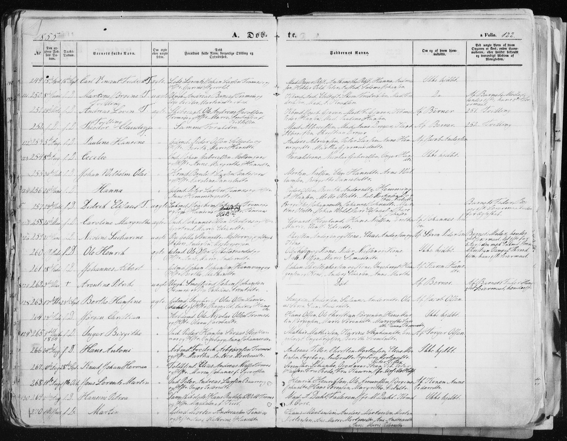 SATØ, Tromsø sokneprestkontor/stiftsprosti/domprosti, G/Ga/L0010kirke: Ministerialbok nr. 10, 1848-1855, s. 122