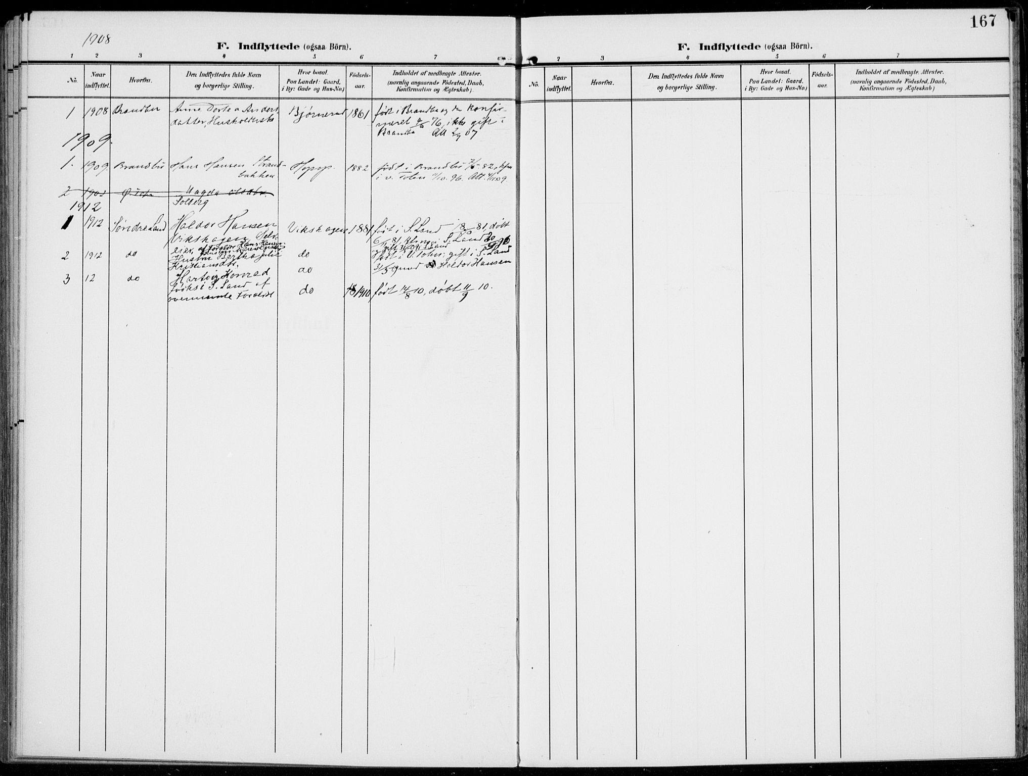 SAH, Kolbu prestekontor, Ministerialbok nr. 1, 1907-1923, s. 167