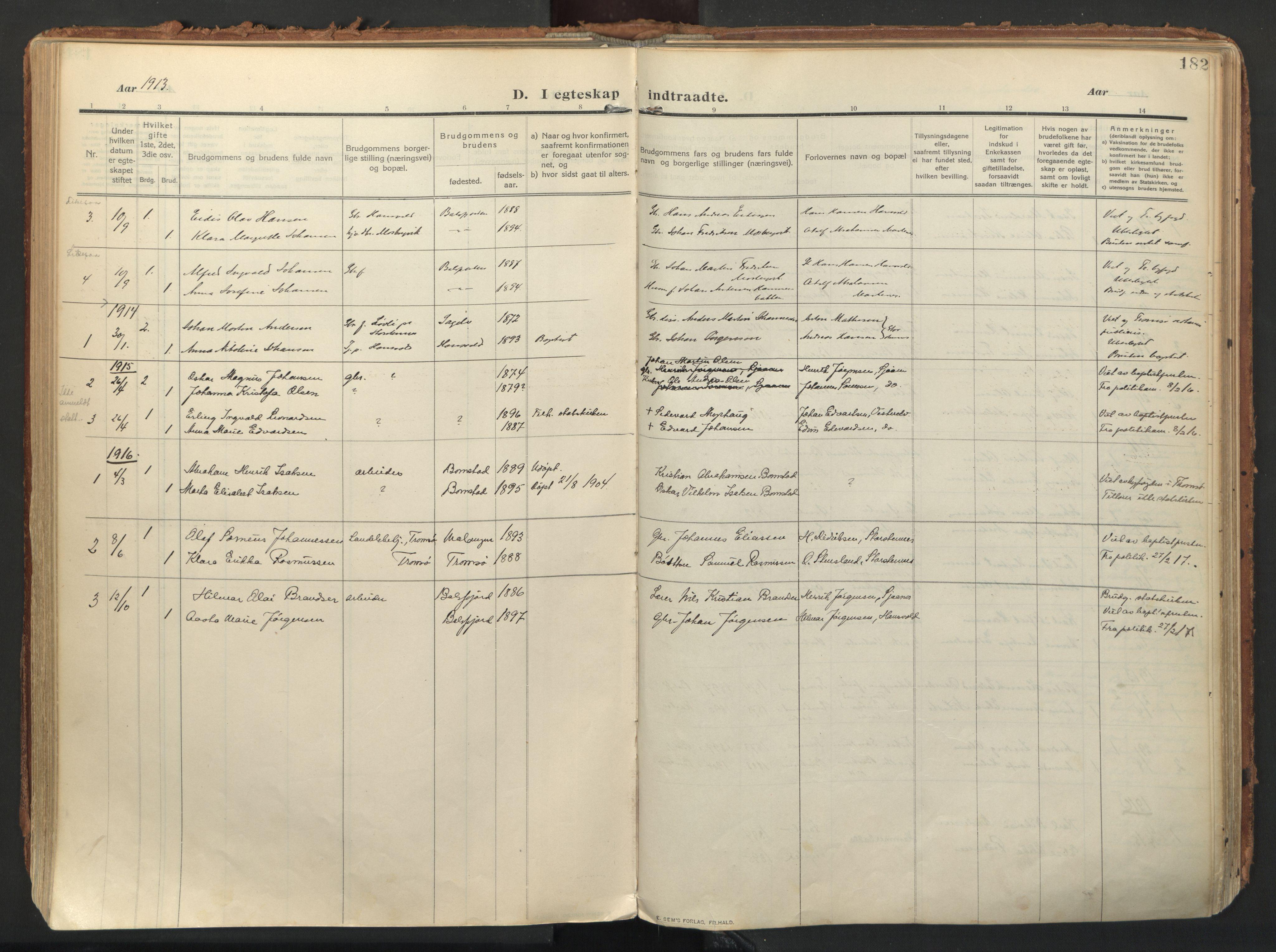 SATØ, Balsfjord sokneprestembete, Ministerialbok nr. 9, 1909-1921, s. 182