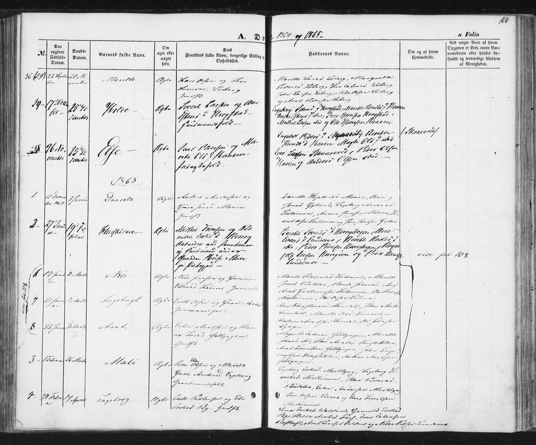 SAT, Ministerialprotokoller, klokkerbøker og fødselsregistre - Sør-Trøndelag, 692/L1103: Ministerialbok nr. 692A03, 1849-1870, s. 106
