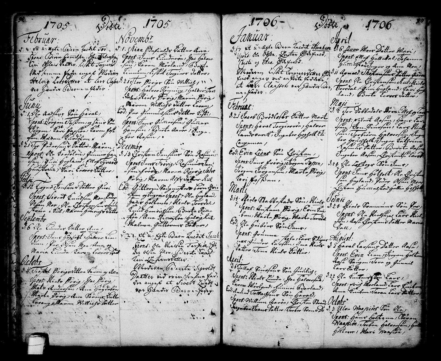 SAKO, Sannidal kirkebøker, F/Fa/L0001: Ministerialbok nr. 1, 1702-1766, s. 96-97