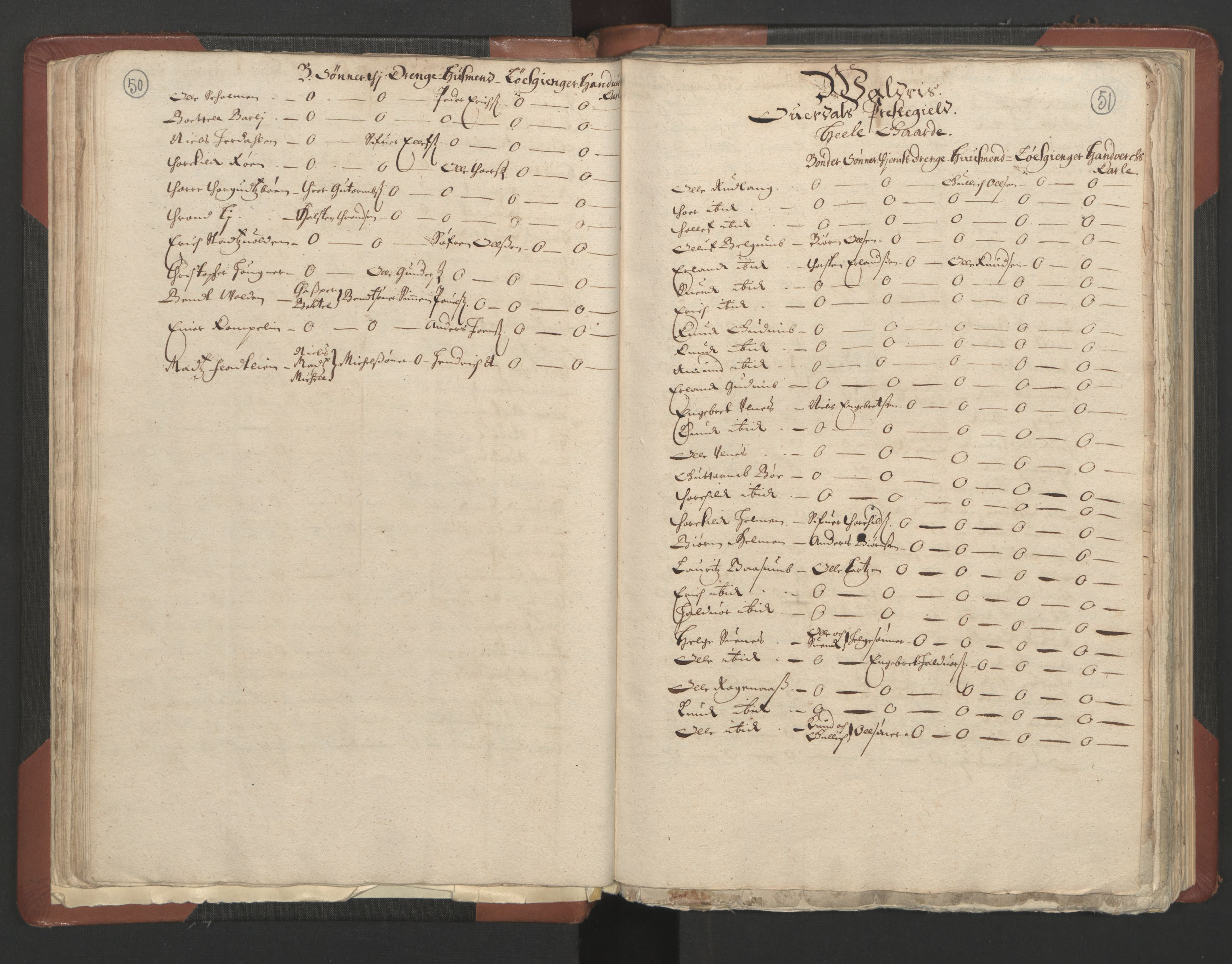RA, Fogdenes og sorenskrivernes manntall 1664-1666, nr. 4: Hadeland og Valdres fogderi og Gudbrandsdal fogderi, 1664, s. 50-51