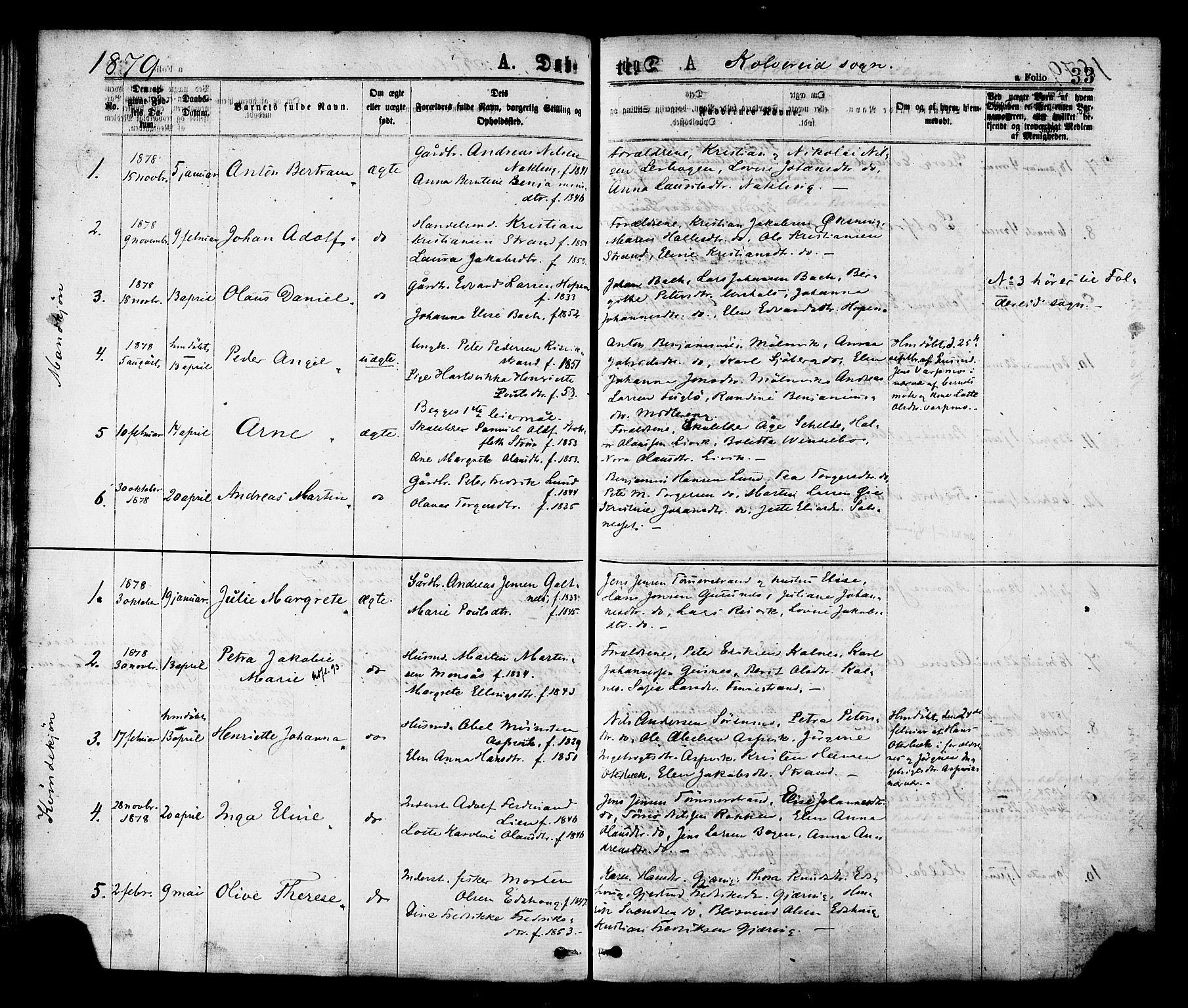 SAT, Ministerialprotokoller, klokkerbøker og fødselsregistre - Nord-Trøndelag, 780/L0642: Ministerialbok nr. 780A07 /1, 1874-1885, s. 33