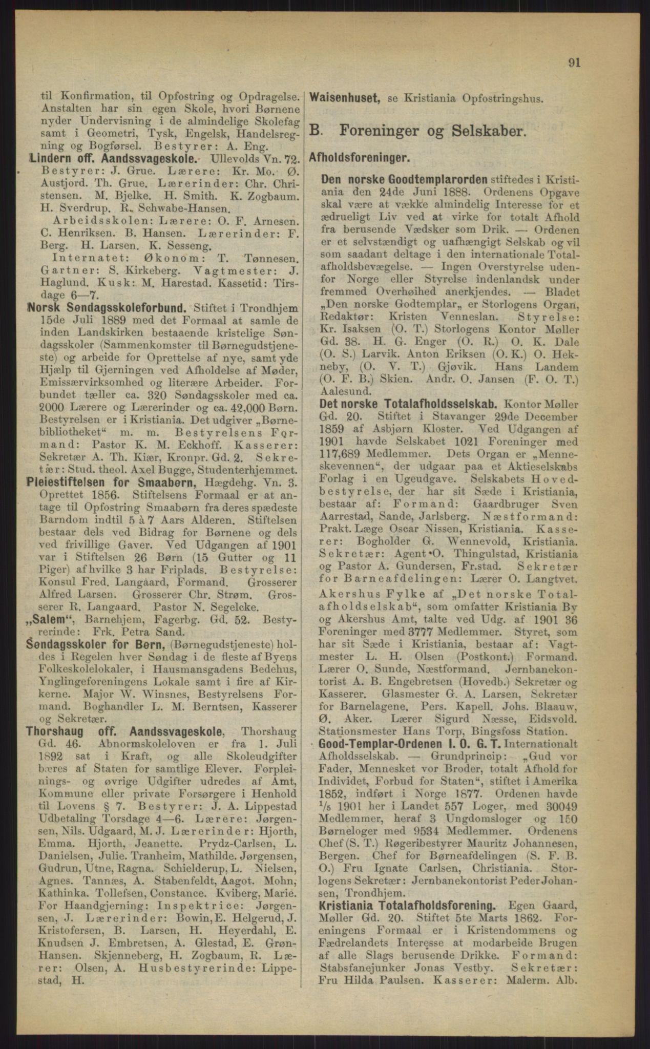 RA, Kristiania adressebok (publikasjon)*, 1903, s. 91
