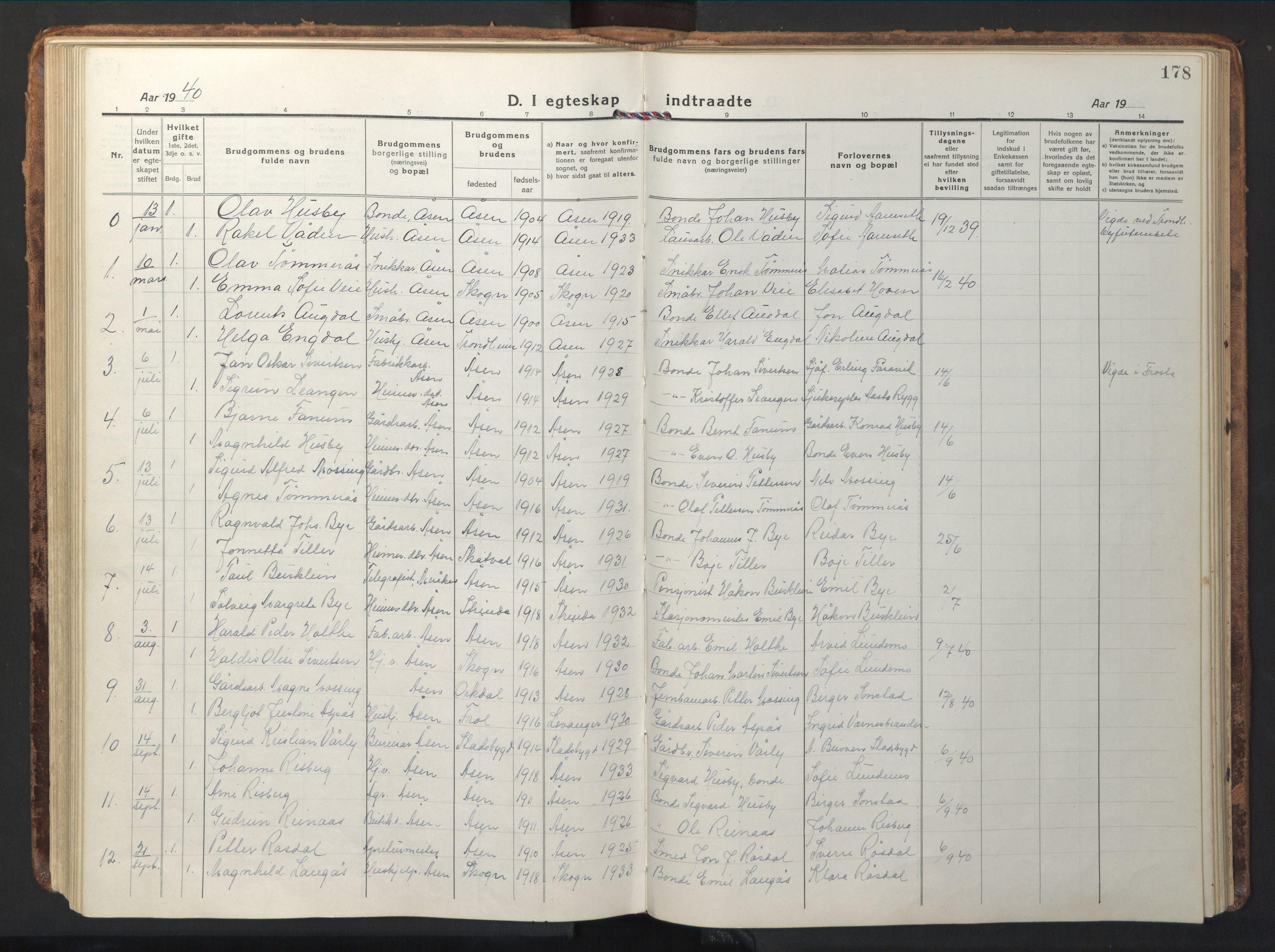 SAT, Ministerialprotokoller, klokkerbøker og fødselsregistre - Nord-Trøndelag, 714/L0136: Klokkerbok nr. 714C05, 1918-1957, s. 178