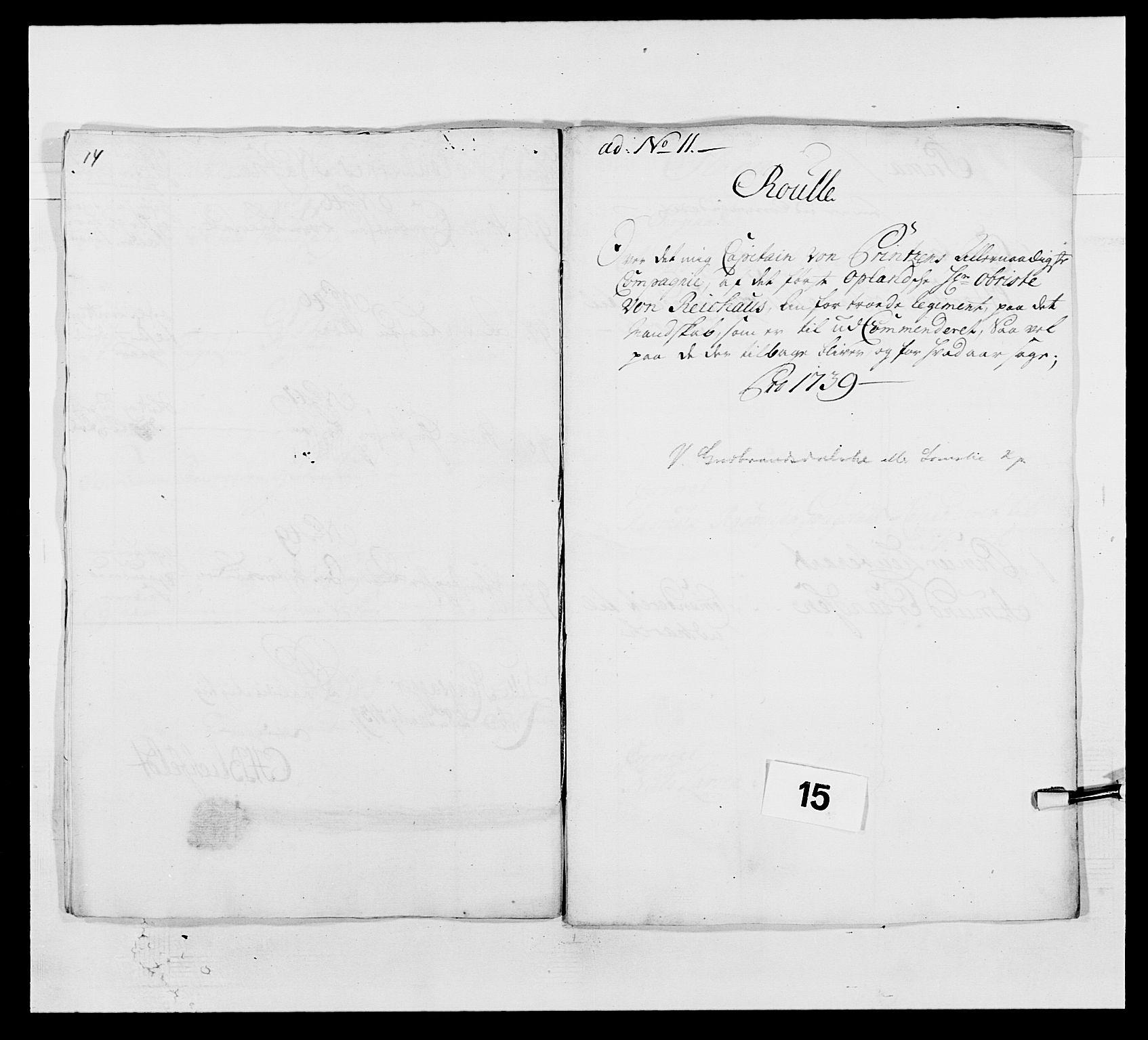 RA, Kommanderende general (KG I) med Det norske krigsdirektorium, E/Ea/L0502: 1. Opplandske regiment, 1720-1743, s. 149