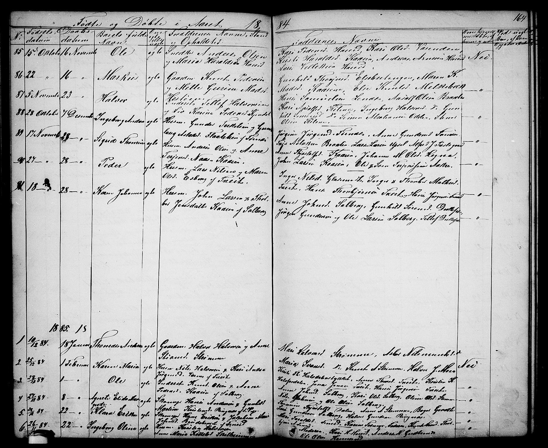 SAKO, Drangedal kirkebøker, G/Ga/L0002: Klokkerbok nr. I 2, 1856-1887, s. 164