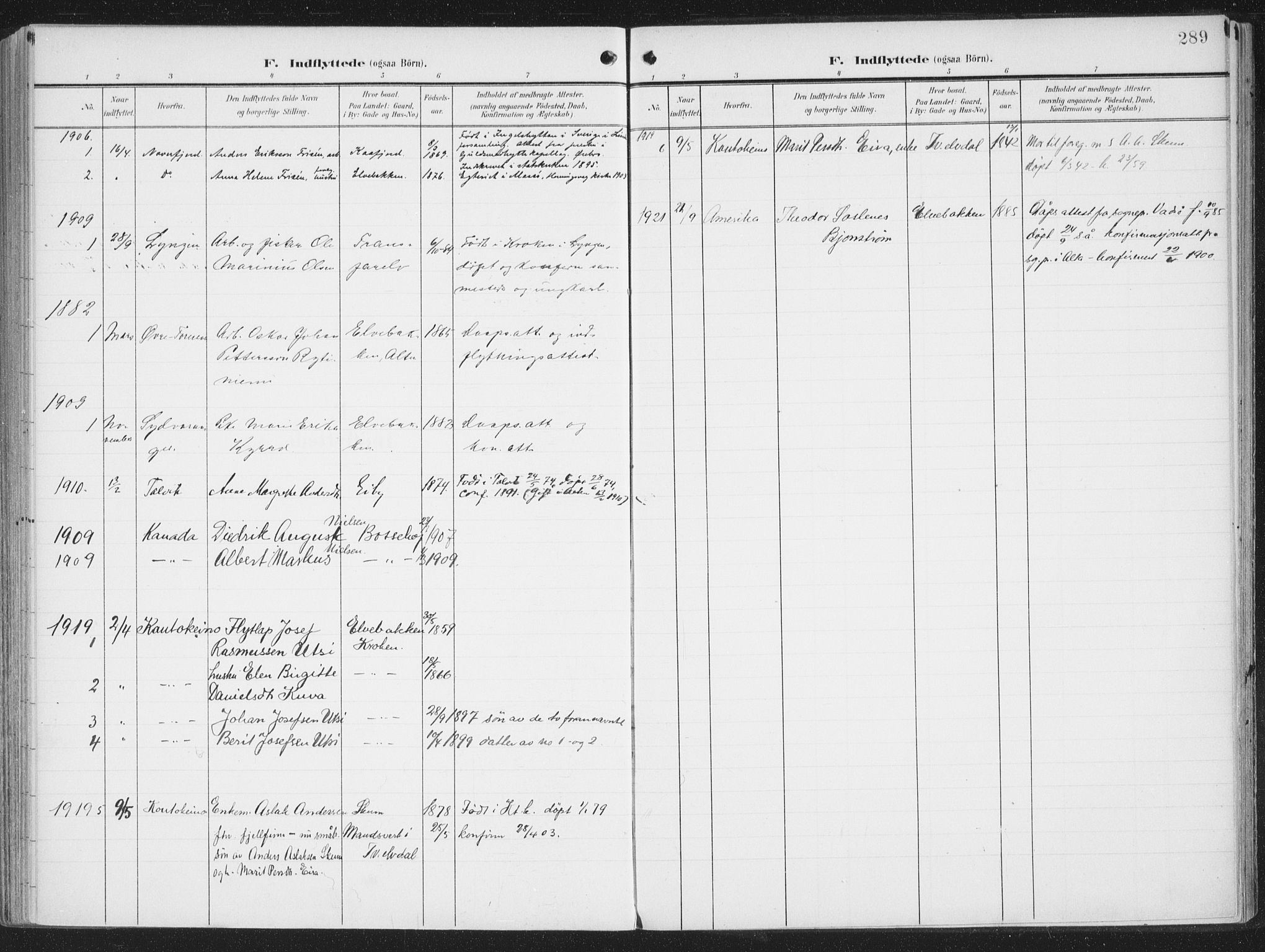 SATØ, Alta sokneprestkontor, H/Ha/L0005.kirke: Ministerialbok nr. 5, 1904-1918, s. 289