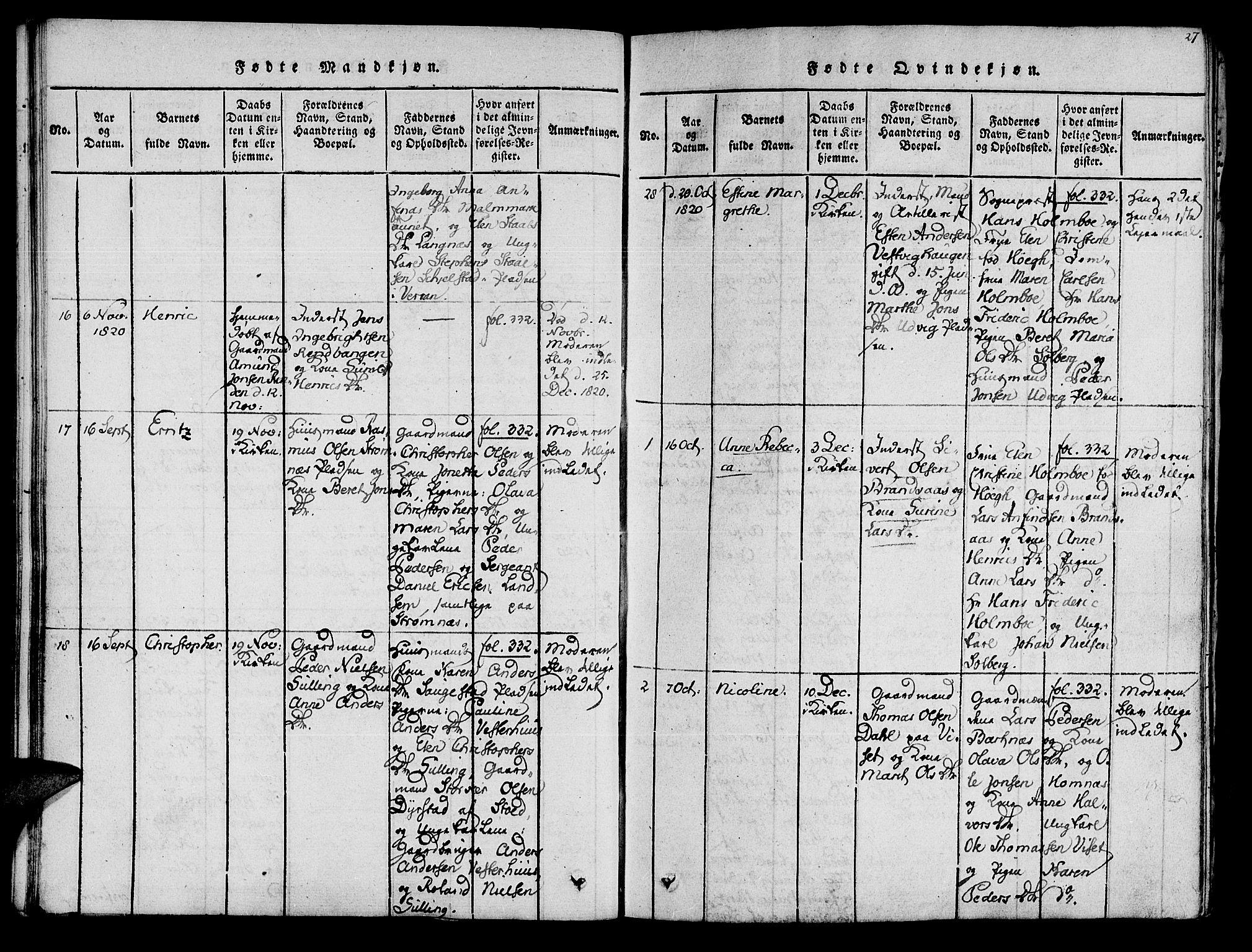 SAT, Ministerialprotokoller, klokkerbøker og fødselsregistre - Nord-Trøndelag, 741/L0387: Ministerialbok nr. 741A03 /1, 1817-1822, s. 27